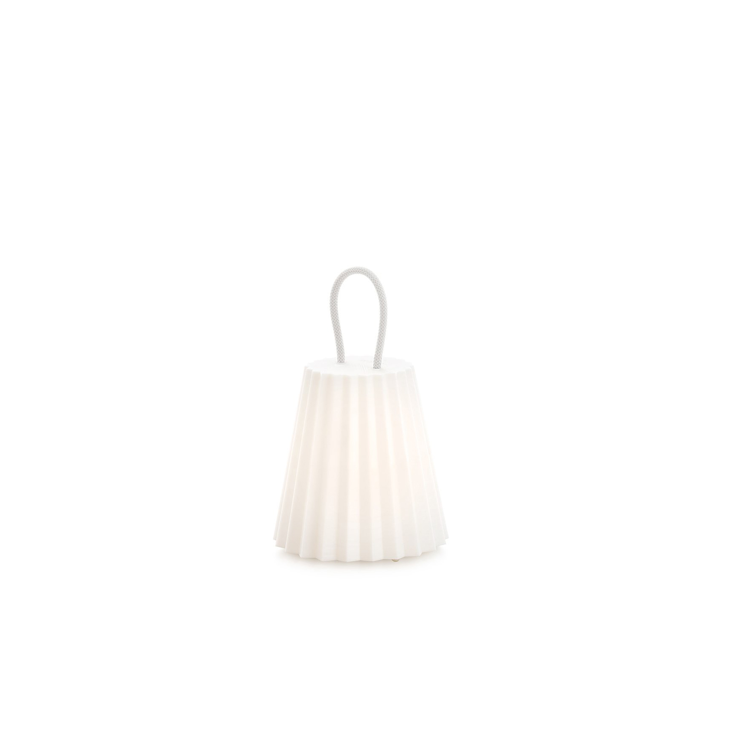 Plisy Portable Lamp - The Plisy nautical cord handle is available in several colors and can be used to move the lamp from place to place like a lantern or on the wrist. Charge it up at home and take it to the park, to the beach or for a night walk. This lamp is perfect if you do not have light sources in your outdoor area. Use the handle to hang it as a wall lamp or place it on its base as a floor light. Plisy is intended as a portable outdoor lamp, but you can also use it indoors. Use its base to set it near a dining table or reading corner, a hallway area or by the entrance to the house. Use it as an auxiliary table lamp inside the house, when you need to light up your outdoor area or take it with you to a night outing. The lamp base is available as a separate product in thermo-lacquered metal white or red. Please enquire us for further information.  7h Charge/10 h Light.   | Matter of Stuff