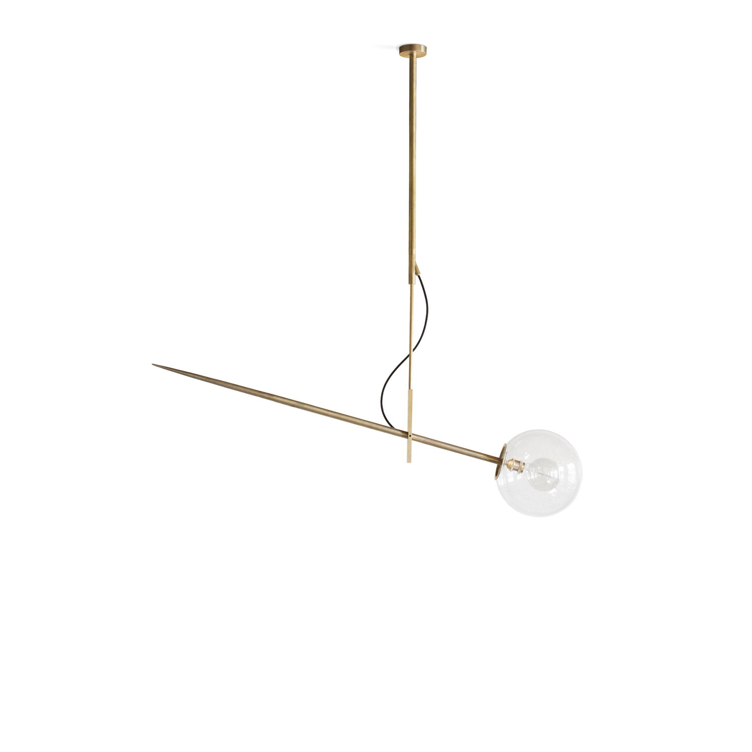 Hasta Hanging Lamp Large - Brass ceiling lamp with a glass shade. The elements are made of full brass. The supplied cable is available in two colors, black or red. Best matches the decorative bulb. Possible to order the lamps of different heights. The lamp has the certificate. Serial number is engraved on the lamp. Hand crafted.  | Matter of Stuff