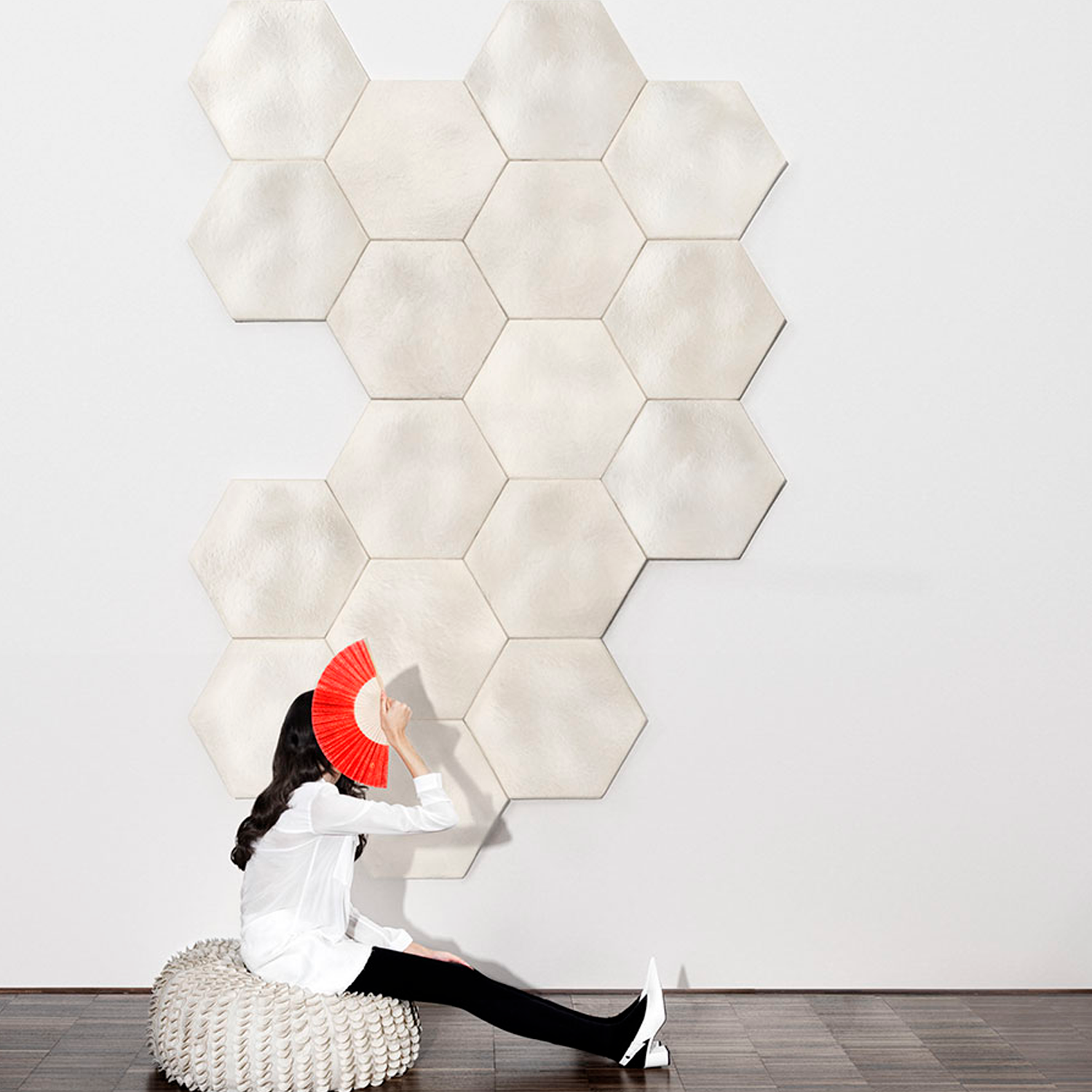 Wave Acoustic Panels - Acoustic collection marks an unprecedented revolution for interior design comfort.  Acoustic modules are made from soft, foam like mycelium materials grown on upcycled textile residues. Thanks to the unique technology, Acoustic panels represent today the most sustainable solution dedicated to acoustic comfort. They are characterised by a unique velvety finishing and different 3D shape, to maximise sound absorption as well as aesthetic comfort.   WAVE: Soft and ethereal wall panels that evoke the sensation of wandering through hills covered in fresh snow. The visual softness and sound dampening properties of Wave enhance comfort, resting the mind on both visual and acoustic sensorial levels.  The WAVE model is available in Hexagon shape allowing for different typologies of compositions and arrangements.  Non-GMO, non-allergenic fungal strains, which do not release any spores throughout the whole production process. The materials have been tested for allergenic and VOC Emissions.  Available in the natural white version as well as in a range of colours, please refer to colour sheet attached below. | Matter of Stuff
