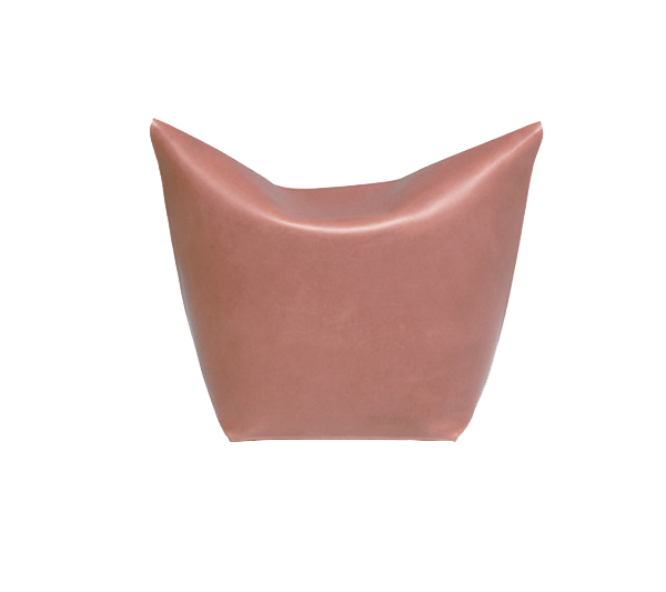 Mao Pouf - It is a simple ottoman reminiscent of the cat snout. Made from one piece of leather shoulder and folded as an origami.  | Matter of Stuff