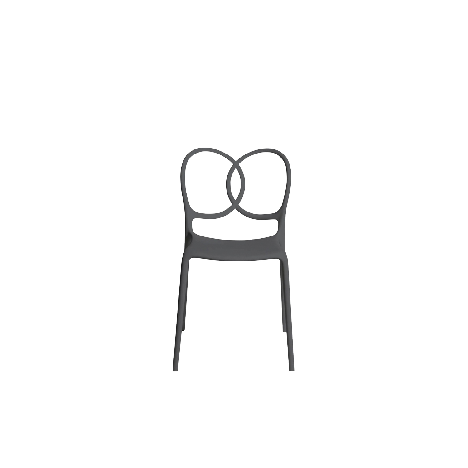 """Sissi Chair - Sissi is a sculptural, very versatile, self- centred and contemporary piece. """"Its modern design winks cheekily at the past and at the female world. The merging and intersecting rings look as if they have been bent by the hand of the viennese craftsmen, whom since over a century ago, would offer the world an elegant and design archetype. The connections, linked in such a sensual way, turn sissi into a refined and sculptural piece, just like the ultimate viennese chair - famous for its wooden curves- it is inspired by. Just like a confident, self-assured women changes her clothes to suit her mood, this chair is complemented by an essential part of its design, the seat cover.""""Ludovica and Roberto Palomba.  The material with which this collection is made derives from industrial recycling coming from internal production waste, and therefore controlled, and from post-consumer recycling, that is from products disposed of with separate collection - such as PET bottles and containers, for instance - and recycled, thus giving life to new objects.  All the seats made with this material are characterized by neutral colors - such as black in particular - which makes them homogeneous. 