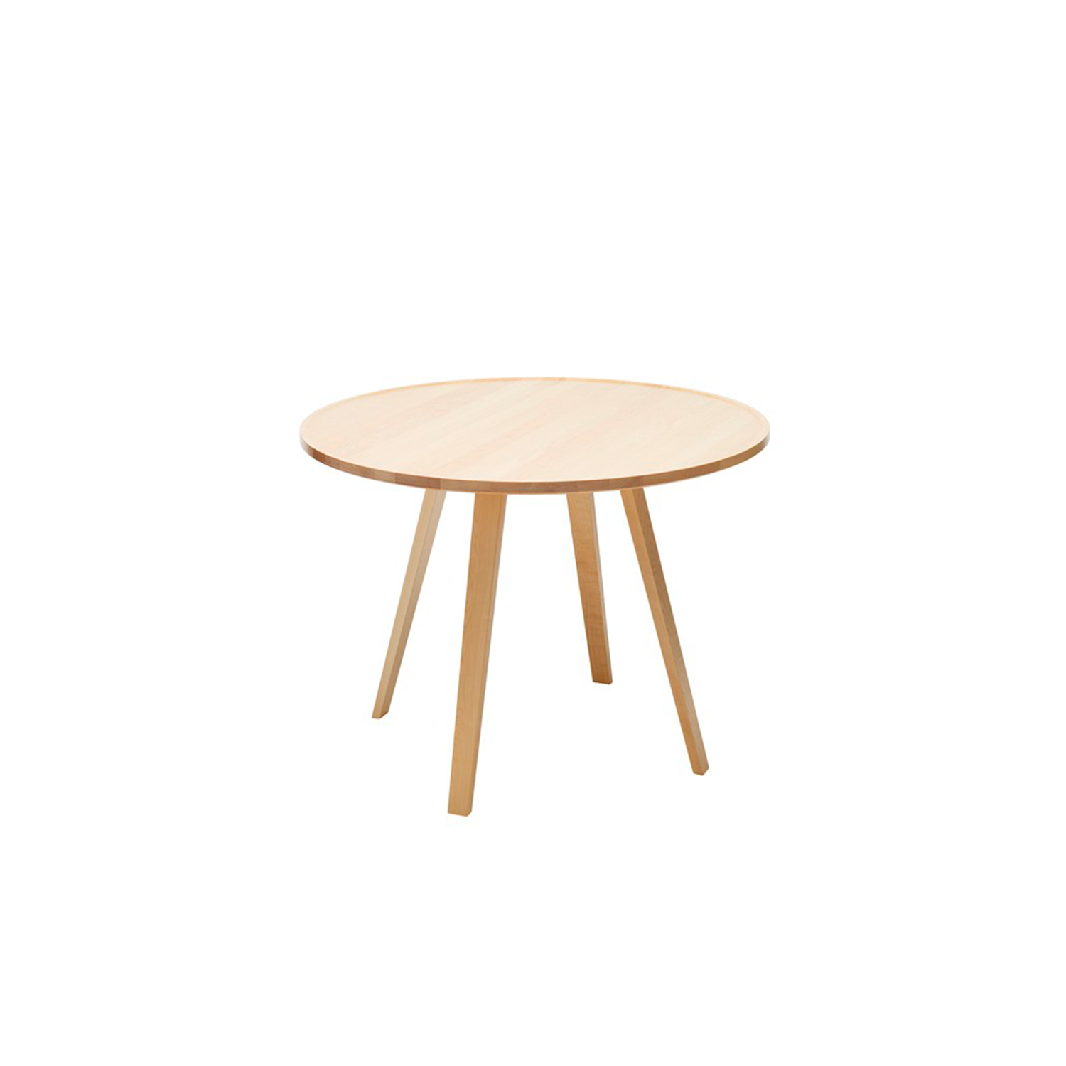 Mill Round Table - Mill (2012) is a table with a solid wooden top and legs. The tabletop has been milled down to produce its distinctive appearance. Mill is available with a round, square or rectangular top in a number of different sizes and in heights of 460, 590 and 720 mm. The table is made of solid wood, so it can be sanded down and relacquered a number of times, making it suitable for use in settings where it is subjected to a lot of wear and tear.  Mill comes in a choice of oak, birch, ash, standard stains on ash and white glazed oak or ash. The table is also available in standard colors with tabletop made in MDF. Special sizes and other finishes upon request. You can use Mill to furnish cafés, kitchens and living rooms, or in hotels, schools, waiting areas etc.  Additional heights and dimensions are available, please see technical sheet attached and enquire for more details. | Matter of Stuff