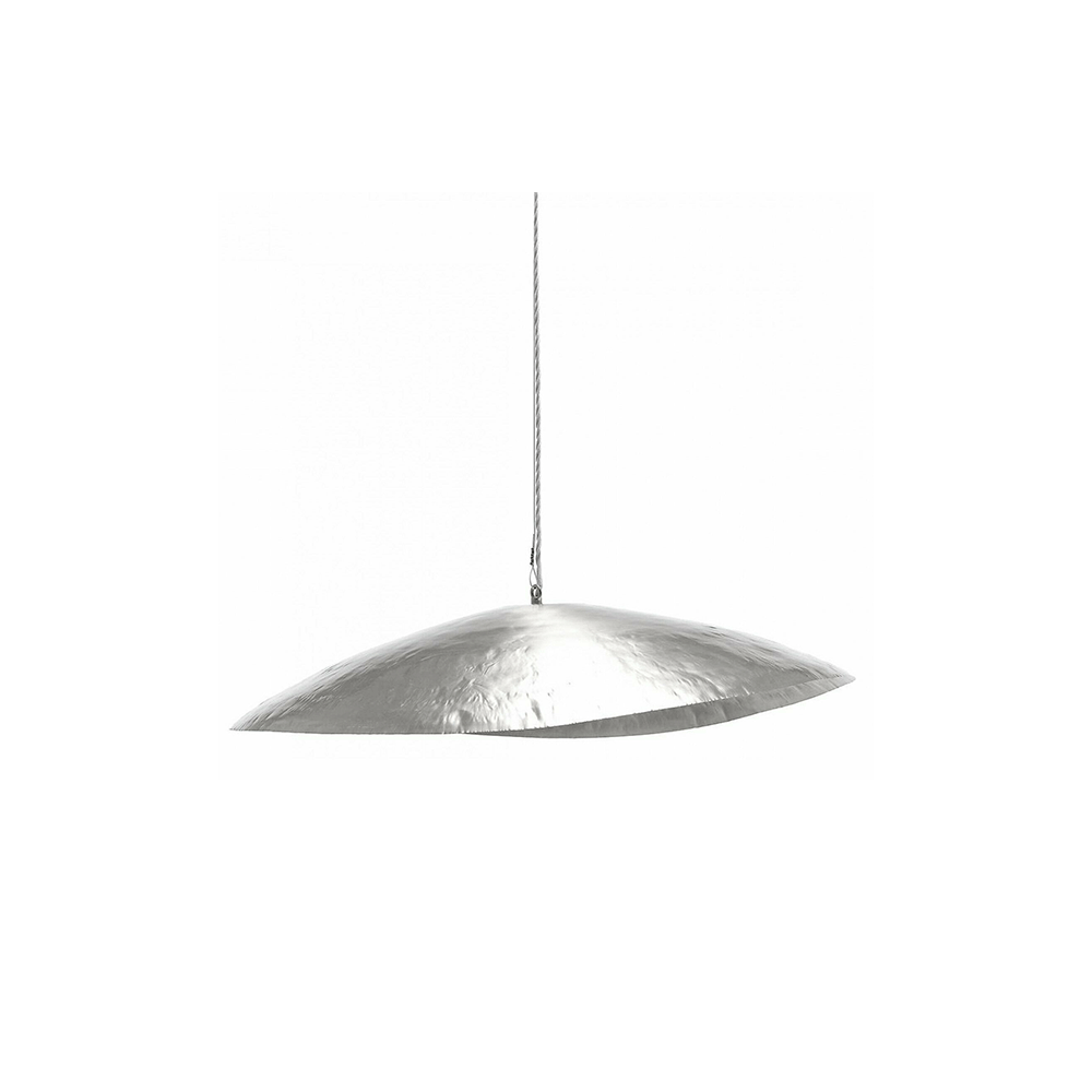 Silver 95 Pendant Lamp - Suspension lamp in hammered nickel-plated brass. Max. power 18 W, 220 Volt, bulb holder E 27. Electrical cable length of the lamp is 250 cm and the steel cable length is 200 cm. The bulb is not included. | Matter of Stuff
