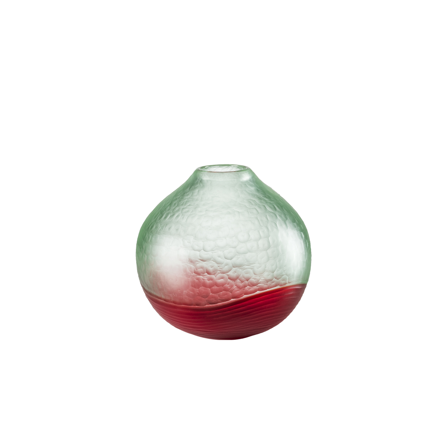 Battuto Bicolore Vase - The liveliness of sea bubbles meets the murmur of bright red sand waves on the surface of this work. The raw power of the elements enclosed in an archaic shape recalling a small talisman | Matter of Stuff