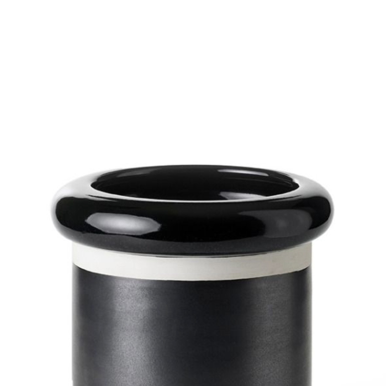 Glossy Black Cylinder Vase - Cylinder vase. Hand-turned in white clay. Two-tone glossy black and matt oxidised copper glaze. | Matter of Stuff