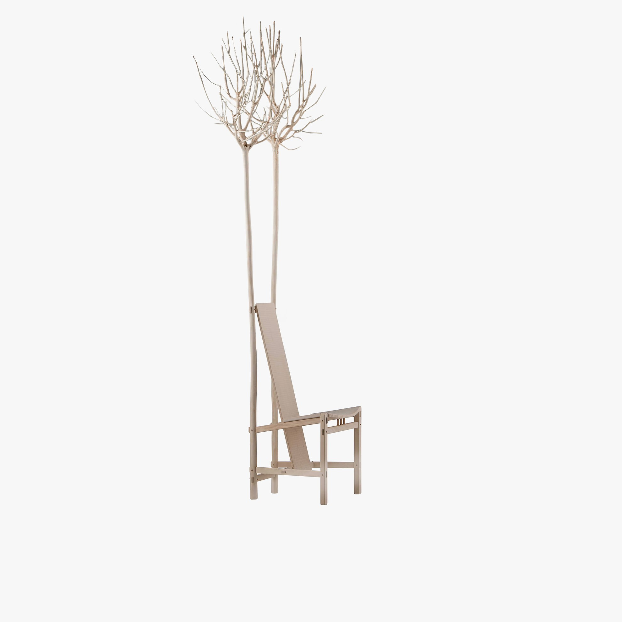 Fiorita Armchair - <p>Fiorita is a seat in solid wood, made using the interlocking technique. It is distinguished by two privet trees that form part of the structure. All the surfaces are sanded. The wood used for this item is maple, a wood from the temperate European zone traditionally used for musical instruments; it has a subtle, fine grain, very distinctive, and characteristic white colour. This distinctive colour, visible as we work the wood, tends to turn yellow rapidly unless treated appropriately to preserve the original whiteness. With Fiorita, we can feel the beauty of nature even inside the home. Customised and made with European cherry, Slavonian oak, maple.</p>    Matter of Stuff