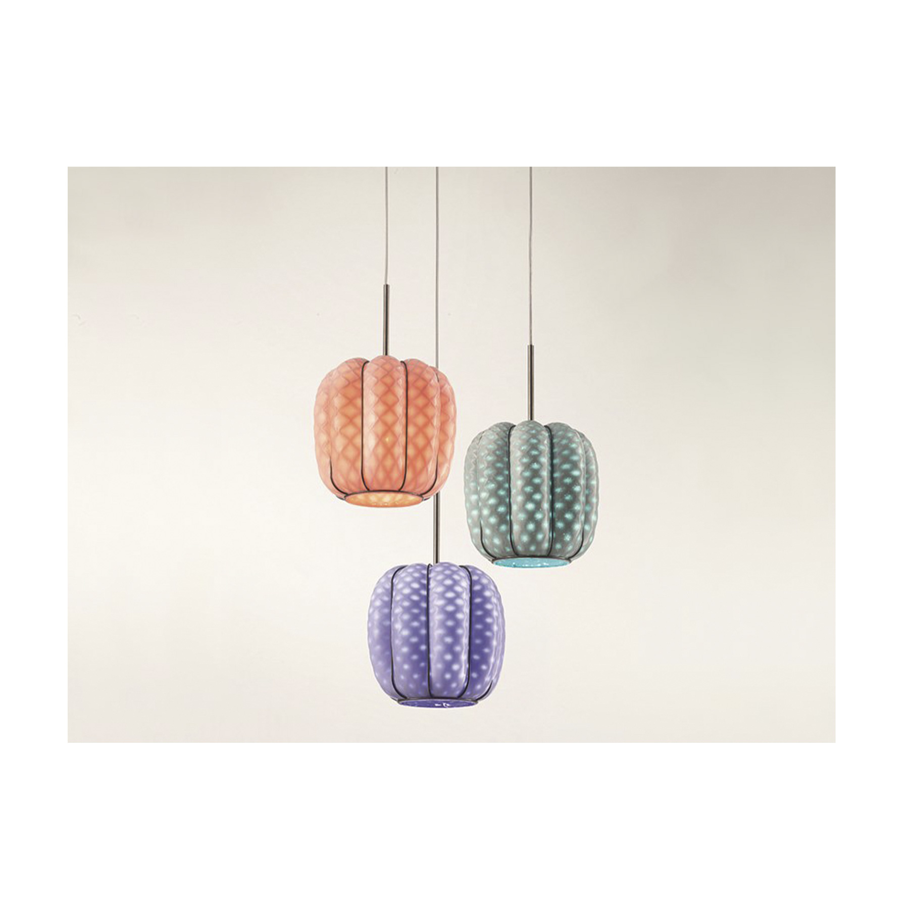 Nest Pendant Light - The Nest Pendant lamp has a white milk outer shell and pastel colours inside the glass. Inside Nest lamps the tone of colours are hidden in the baloton effect, but are visible when the light is on. This creates a fun and eye popping effect when lit up. It is available in three different colours: Orange, Blue, Green</p>
