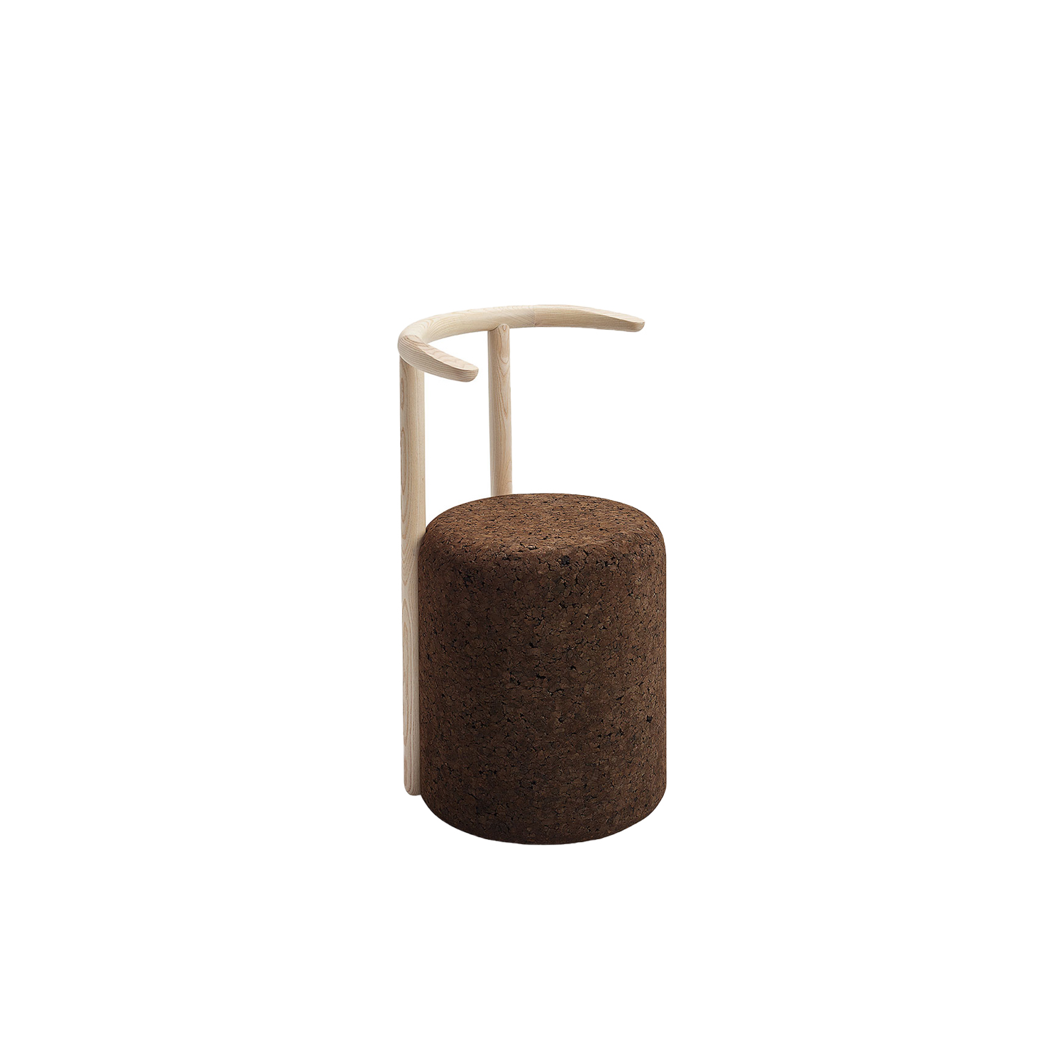 """Omega Chair 4 - It is only used cork of the branches (falca) for the manufacture of cork granules. These are block clusters in autoclave, being 100% natural process, without use of additives. Technology, developed by Sofalca, consists of injecting water vapour through the pallets that will expand and agglutinate with the resins of the cork itself. This """"cooking"""" gives also dark colour to the agglomerated cork, like chocolate. In the production of steam I used biomass, obtained on milling and cleaning the falca, what makes it truly ecological production and without waste, 95% energy self-sufficient. As a super-material, cork offers so many advantages, because in addition to its excellent thermic, acoustic insulation and anti vibration characteristic, it is also a CO2 sink playing a key-role in the environment. 