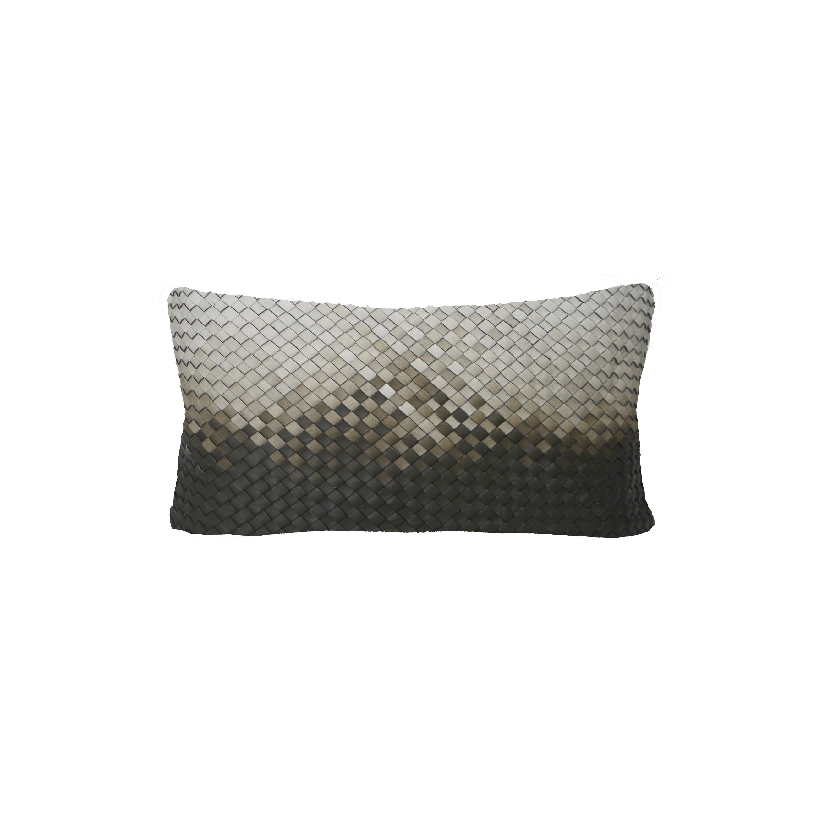 Mosaico Degrade Woven Leather Cushion Small - <p>The Small Mosaico Degrade Woven Leather Cushion is designed to complement an ambient with a natural and sophisticated feeling. Our woven handmade leather cushions are specially manufactured in Brazil using an exclusive treated leather that brings the soft feel touch to every single piece. Cushion pads can be customised in a range of ethically sourced feathers, eco-friendly wool and allergy-friendly fibres. Our fillings are sourced for their superior quality and properties to make only the finest quality cushion pads.</p> <p>Elisa Atheniense Home Cushions are sold in pairs only, all cushions are available in two sizes<br />Bespoke sizes are also available under project request as well as colours.</p>  | Matter of Stuff