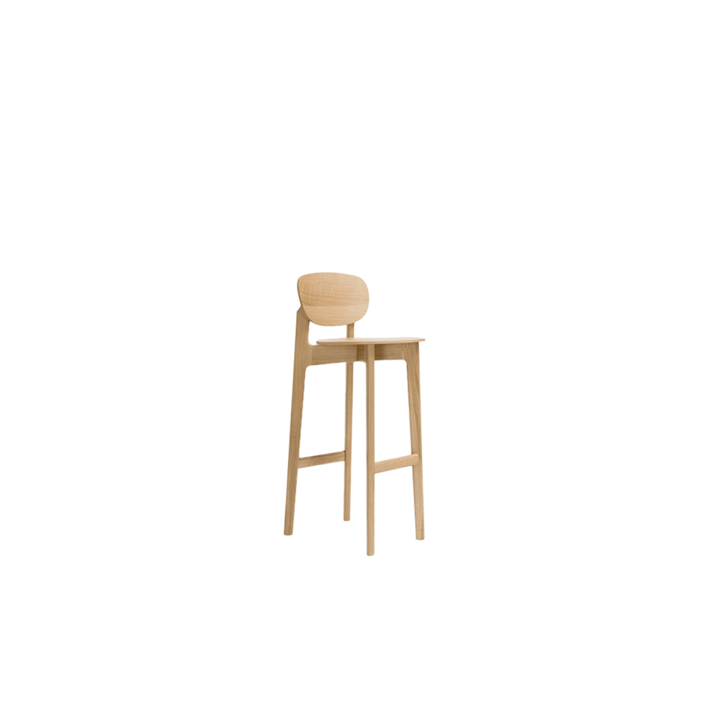 Zenso Backrest Chair - The character of the bar stool ZENSO BAR is reflected in its sculpturally expressive wooden frame, in combination with a light shell that rests upon it, floating and aesthetically pure. The high level of stability of the bar stool requires a cross construction of solid wood. The shells consisting of moulded wood appear light and inviting.  ZENSO Bar backrest chair is available in seat heights of either 65 or 80 cms, each with a footrest, and it comes in lacquered oak, colour stained oak and lacquered American walnut.   ZENSO Bar backrest chair is available either with a wooden seat and back shell, with an upholstered seat and back shell or with an upholstered seat and wooden backshell at an additional charge. Please inquire regarding upholstery options.   For colour stained oak and upholstery options, please refer to the catalogue.        | Matter of Stuff