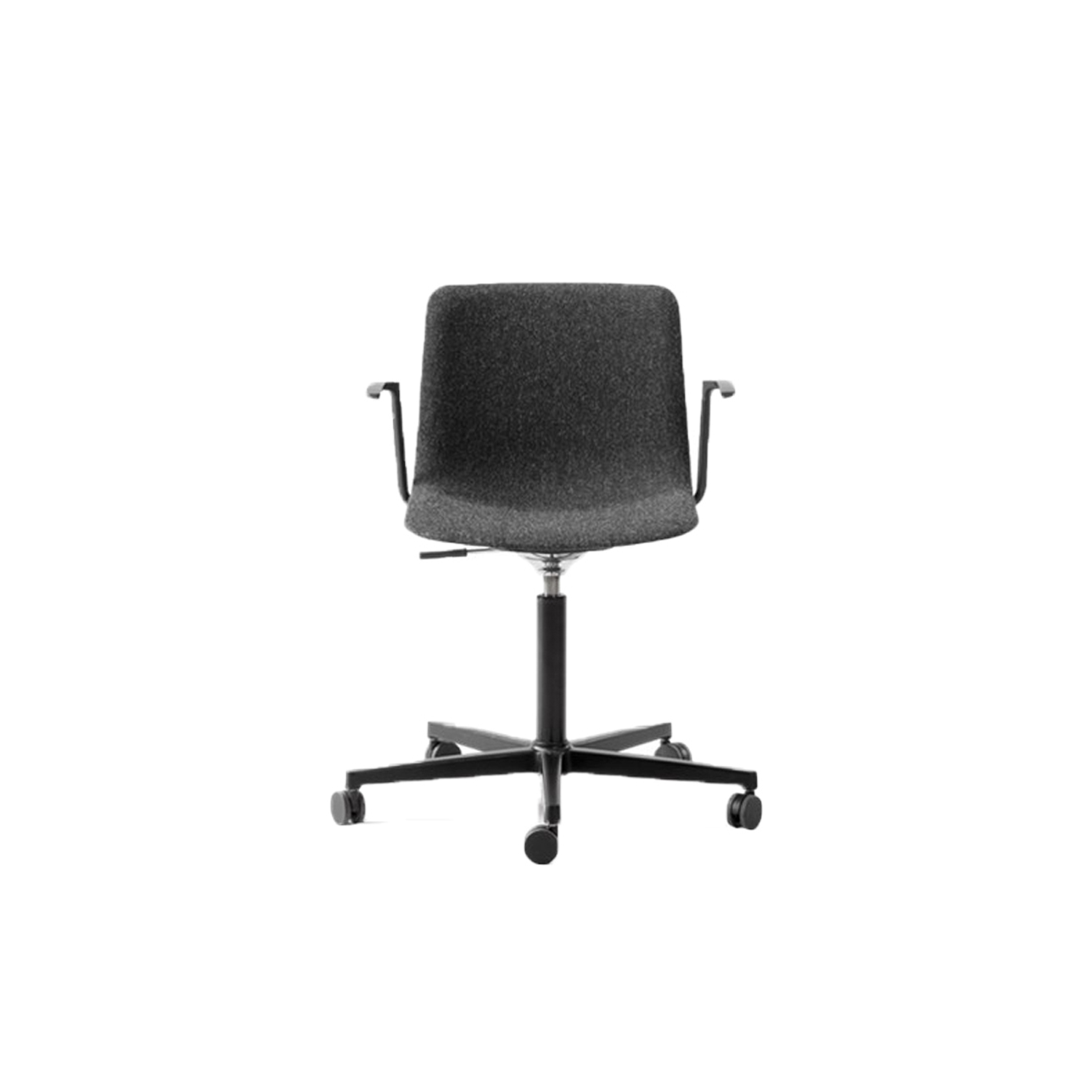 Pato Office 5 Point Swivel Base Armchair Fully Upholstered  - Pato Office Armchair is fitted with a 5-point star swivel base on casters. The frame has a swivel feature with height adjustable gaslift and a tilt function for comfortable task seating. The arms can be used for suspension on any table. The chair can be tuned from basic to exclusive with optional upholstery.  Pato is a prime example of our focus on sustainability and protecting the environment, reflected in a chair that's 100% renewable and recyclable. All components can be incorporated into future furniture production, thus contributing to a circular economy by minimising the use of materials, resources, waste and pollution.   Merging traditional production methods with cutting-edge technology, Pato is a human-centric, highly versatile series of multi-purpose functional furniture that draws on our in-depth experience with materials, immaculate detailing and heritage of fine craftsmanship. Allowing us to apply our high standards of texture, finish and carpentry techniques to an array of materials in addition to wood for products aimed at a mass market.   With its clean lines and curves, Pato echoes the ethos of Danish-Icelandic design duo Welling/Ludvik. Demonstrating their belief that good design has the ability to be interesting, even when reduced to its most simple form. Where anything extraneous is eliminated and every detail has a purpose.   Together we spent nearly three years developing the shell structure to have a soft surface that's also wear and tear resistant. Enhancing the chair's ability to optimally conform to the user's body is a subtle beveled edge. A technique from classic cabinetmaking, which gives the chair a sense of handcrafted finesse. Each Pato is detailed and finished by hand by our highly skilled crafts people, who refine the beveled edge and the silky, resilient surface. Setting a new standard for the execution and finish of polypropylene.   Since the success of its initial laun