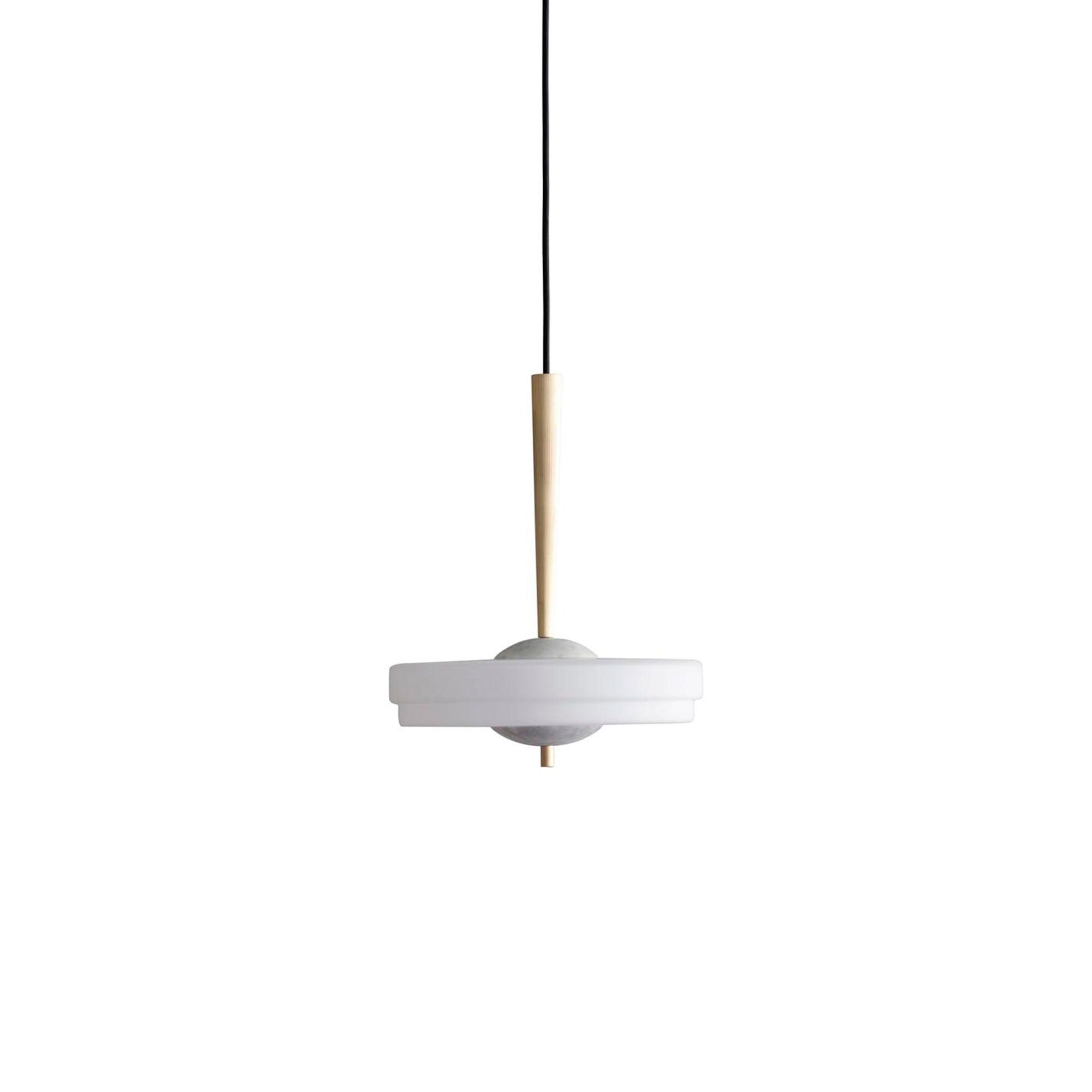Trave Pendant Light - Suspended from a reeded fluted brass stem, the shade of the Trave Pendant Lamp features a two tier soft finish opal glass. The addition of marble highlights produce a light that is soft and ambient for a warm but dramatic atmosphere.  | Matter of Stuff