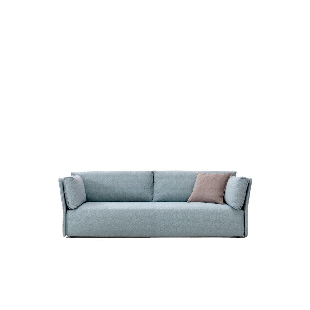 Smuk Sofa - The Smuk sofa is a comfort-oriented design with a wealth of size options, where the solidity of the elements blends well with the ergonomically designed forms. Here, the structurless armrests and back flare out elegantly, like the corolla of a flower, to accommodate the structure's cushions.   Made up of modular sections, Smuk can be put together in different configurations, providing multiple seating solutions. It comes in straight and corner versions. The sofa comes in removable fabric, leather and imitation leather. Fabrics can be mixed within the same, but not different, categories.    | Matter of Stuff