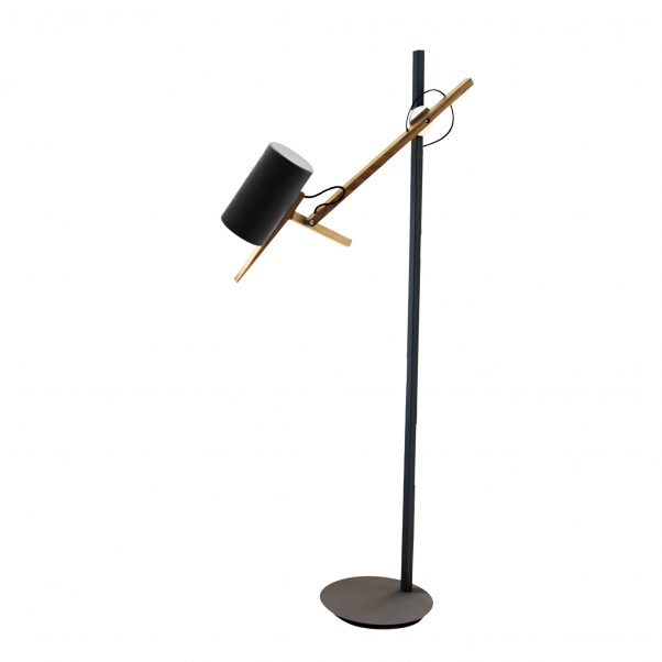 Scantling Small Floor Lamp - A combination of basic geometric shapes and the use of wood together with metal give this range of lamps a homely appearance, at the same time as a clearly defined personality.  All of the movements of the fully rotating shade use arms and hinges, and its technical precision means that springs or counterweights are not necessary in order to maintain the selected position. Scantling is a term used to define the size to which a piece of wood or stone is measured and cut, derived from the name of an old unit of measurement.  The interplay of the different elements used in its design gives this lamp an archetypal, almost graphic appearance. | Matter of Stuff