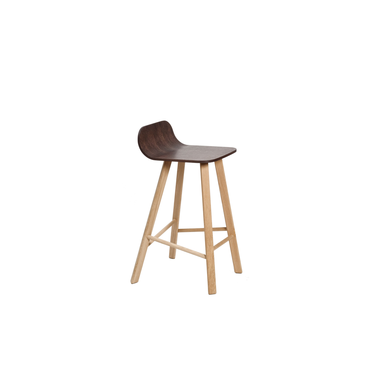 Tria Stool Low Back - Variation on Tria Simple, this stool is suitable both for homes and contract with the 2 version low back LB or high back HB. Bent plywood shell, available in 3 different variations with a range of fabics, leather and paint options.