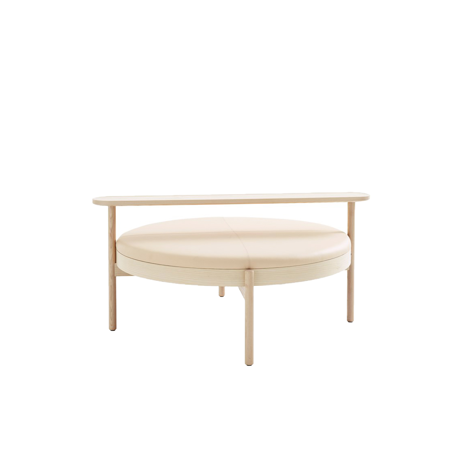 Hygge Ottoman with Long Table - It was while they were on a sailing trip to the Danish island of Læsø that Johan and Nina Kauppi found the inspiration to create a generously proportioned seating solution that can be shared by several people – creating that special feeling of cosiness and conviviality that the Danes call 'hygge'. Hygge (2020) is a family of seating 'islands', which use the same frame design and cushion, yet create highly individual variations depending on the accessories with which they are combined.  By choosing a leg frame with armrests, a small round table or a long rectangular table, you can vary the expression and practical function of each unit. The solid wooden frame comes in oak or ash, finished with standard stains on ash, or white glaze on oak and ash. Cold-cured foam cushions are covered in a choice of fabric or leather, and changing the covers is easy. Accessories includes a USB charger which can be placed alongside the legs. Hygge is supplied assembled, with adjustment screws under the feet. Hygge offers a pleasant setting in which to relax and take a break in lounges and hotel lobbies. Individually or in family groups these seating islands are ideal as freestanding seats in a wide variety of rooms and public spaces.  Accesories are available at an additional price. Please enquire for more information and details. | Matter of Stuff