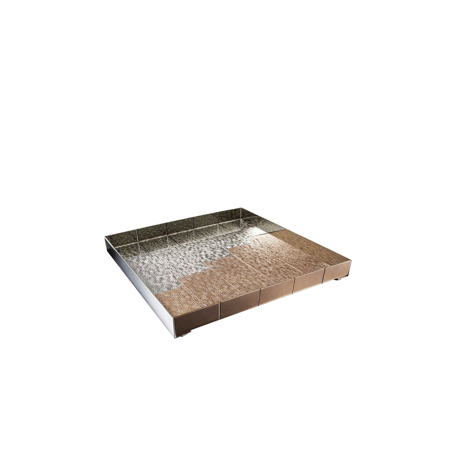 Accordi Tray - Square Tray in copper and white bronze. This tray is characterized by the rectangular motif.