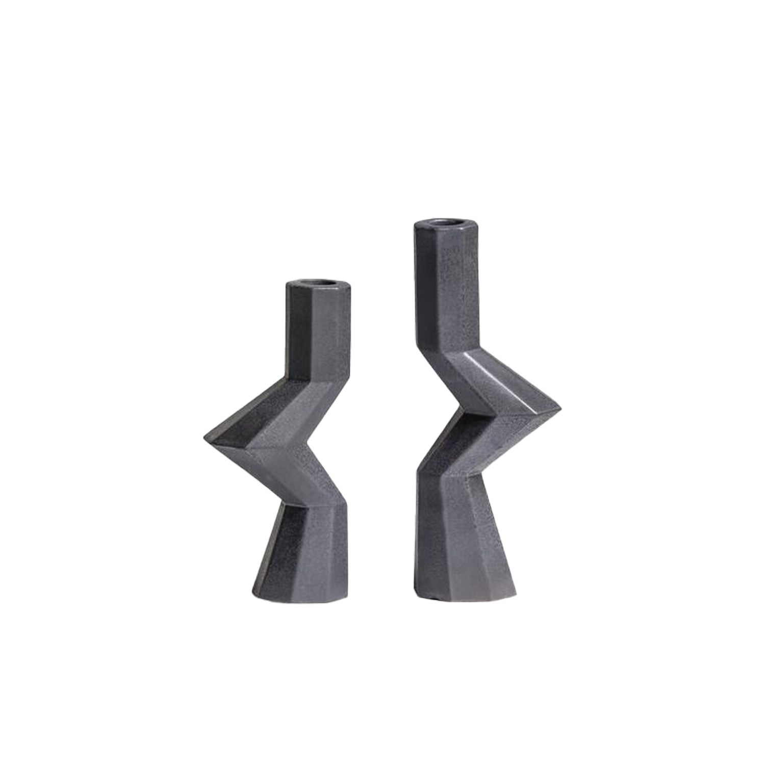 Fortress Militia Candlesticks Iron - Designer Lara Bohinc explores the marriage of ancient and futuristic form in the new Fortress Vase range, which has created a more complex geometric and modern structure from the original inspiration of the octagonal towers at the Diocletian Palace in Croatia. The resulting hexagonal blocks interlock and embrace to allow the play of light and shade on the many surfaces and angles. These are handmade from ceramic in a small Italian artisanal workshop and come in different finishes  | Matter of Stuff
