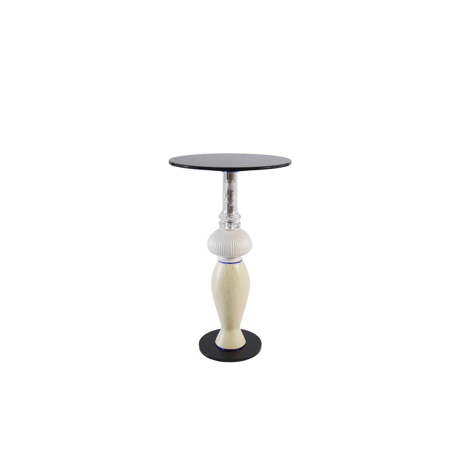 """Under A Clear Blue Sky Side Table - Timeless """"one of a kind"""" side table made of vintage vases and new plexiglass and glass components. Stable construction made of metal and flexible components inside. Additional wight in the base.  