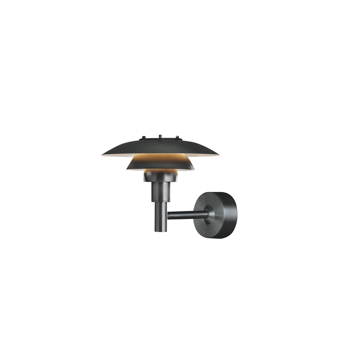 PH 3-2½ Outdoor Wall Lamp - The fixture is designed based on the principle of a reflective three-shade system, which directs the light downwards. The shades have a matt white painted interior surface, diffusing the light in a comfortable way.    | Matter of Stuff