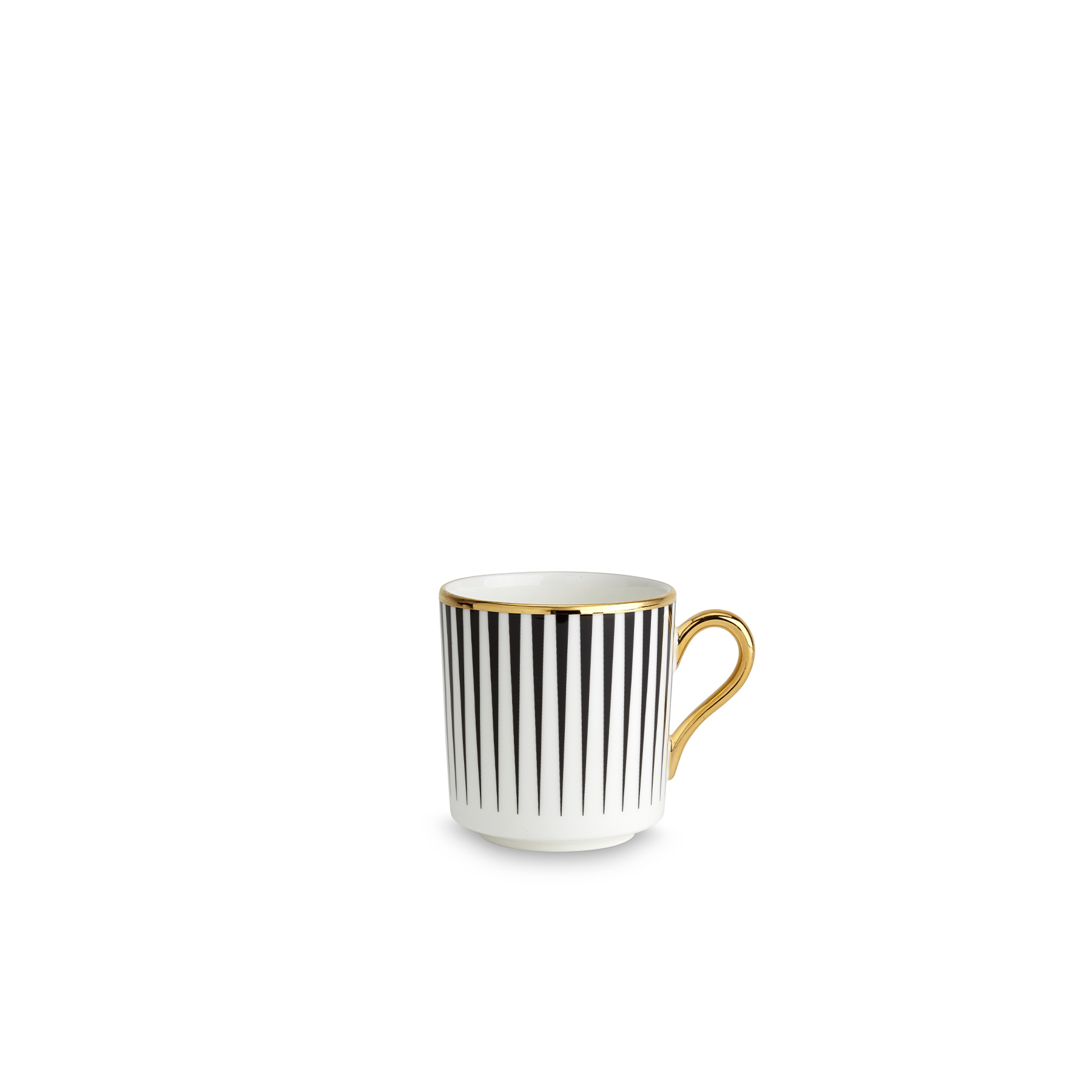 Lustre Espresso Cup Black - Lustre, conceived by award-winning designer Bethan Gray uses a fine bone china body paired with 22-carat gold and black decals, and finished with hand gilded details. The collection features a reinterpretation of Bethan's hand-drawn Dhow pattern originally inspired by the billowing sails of Oman's distinctive sailing boats. Possible only by hand, the pattern is meticulously applied in three separate pieces in a pattern that is complex with its curvatures. The decals of 22-carat gold and black are fired, hand finished with 22-carat gold and finally fired for a second time. Hand wash only.  | Matter of Stuff