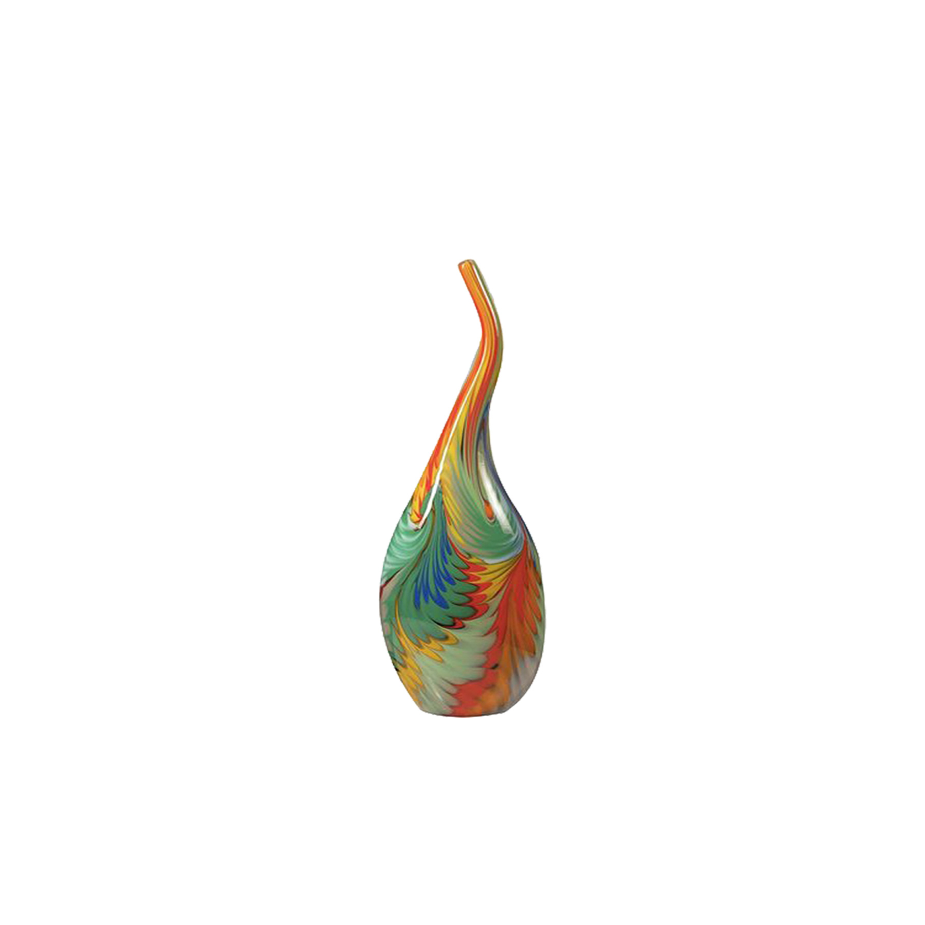 Giungla Tall Vase - Part of the Giungla 'Jungle' Collection, this exceptional vase is a testament to innovative design vision and traditional craftsmanship. Made of Murano glass through the ancient Cane technique, where cane refers to rods of glass, which can be simple and contain single colour, or complex and contain strands of one or several colours creating a pattern. The subtle contour of the vase, its slender neck and wide body are enhanced by the rich colour palette: the sinuous and wispy decorations come together to create a vibrant canvas that evokes the graceful body of a tropical bird. Used as a centrepiece on a console, side table, or dining table, this piece will add a note of joy and colour to any decor.