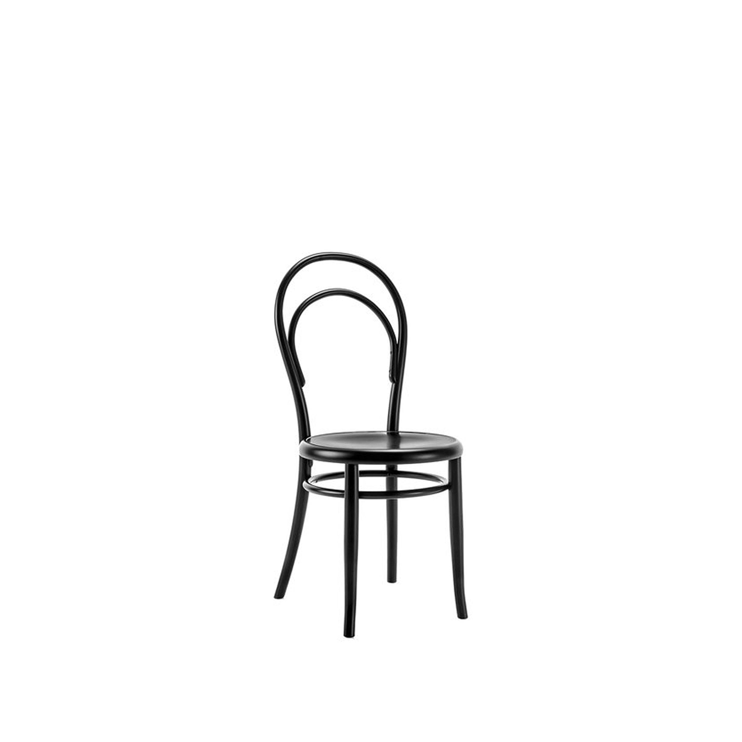 N.14 Black Chair - This exceptional chair reinterprets the elegance and timeless charm of the classic bistro chair. Every element that composes its structure is crafted of solid beechwood bent using steam, creating the elegant curves of the back and the rings below the plywood seat. Entirely veneered in black, this piece will be a superb addition to a modern dining room. It is also available with seat in Viennese cane or perforated plywood, please ask the Concierge for details.