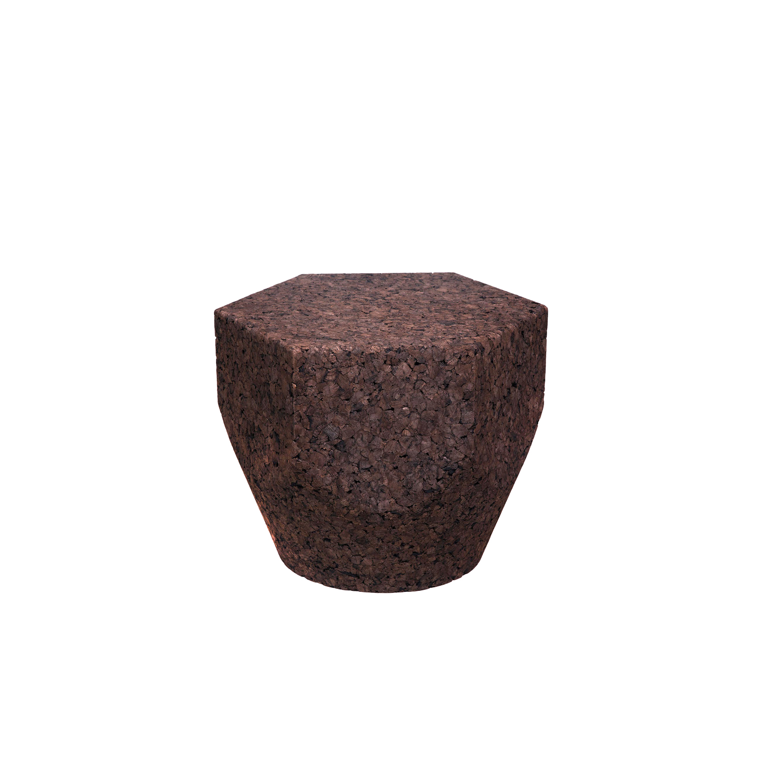 """Pencil 400/500/600 Low Tables - It is only used cork of the branches (falca) for the manufacture of cork granules. These are block clusters in autoclave, being 100% natural process, without use of additives. Technology, developed by Sofalca, consists of injecting water vapour through the pallets that will expand and agglutinate with the resins of the cork itself. This """"cooking"""" gives also dark colour to the agglomerated cork, like chocolate. In the production of steam I used biomass, obtained on milling and cleaning the falca, what makes it truly ecological production and without waste, 95% energy self-sufficient. As a super-material, cork offers so many advantages, because in addition to its excellent thermic, acoustic insulation and anti vibration characteristic, it is also a CO2 sink playing a key-role in the environment. 