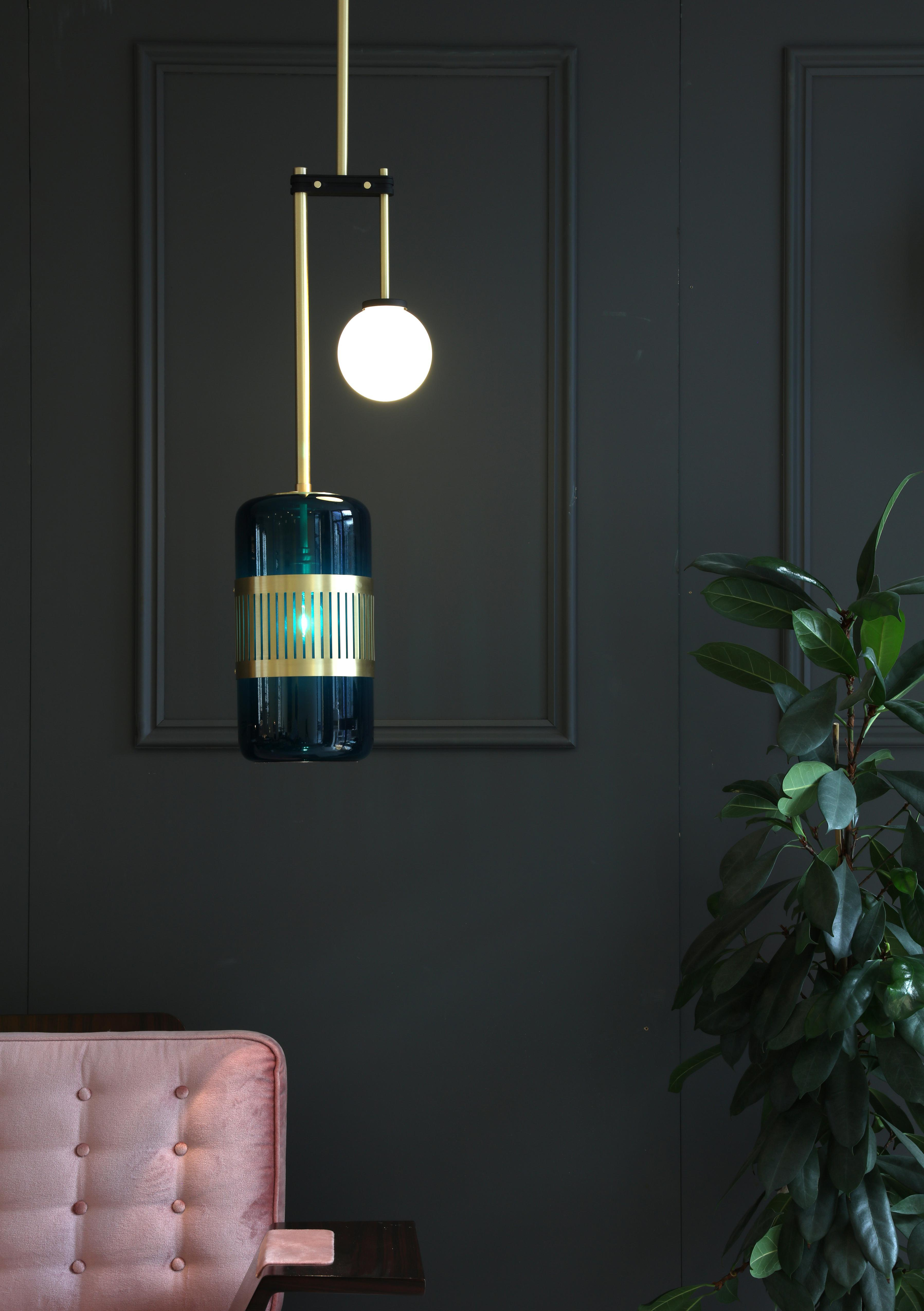 Lizak Drop Pendant Light - <p><span>Sophisticated yet unexpected the Lizak Drop Pendant Lamp features a glass shade suspended on a linear brass arm. An opal glass globe fixes to a second brass arm creating an elegant counterpoint. Drop rod made to required size.</span></p>  | Matter of Stuff
