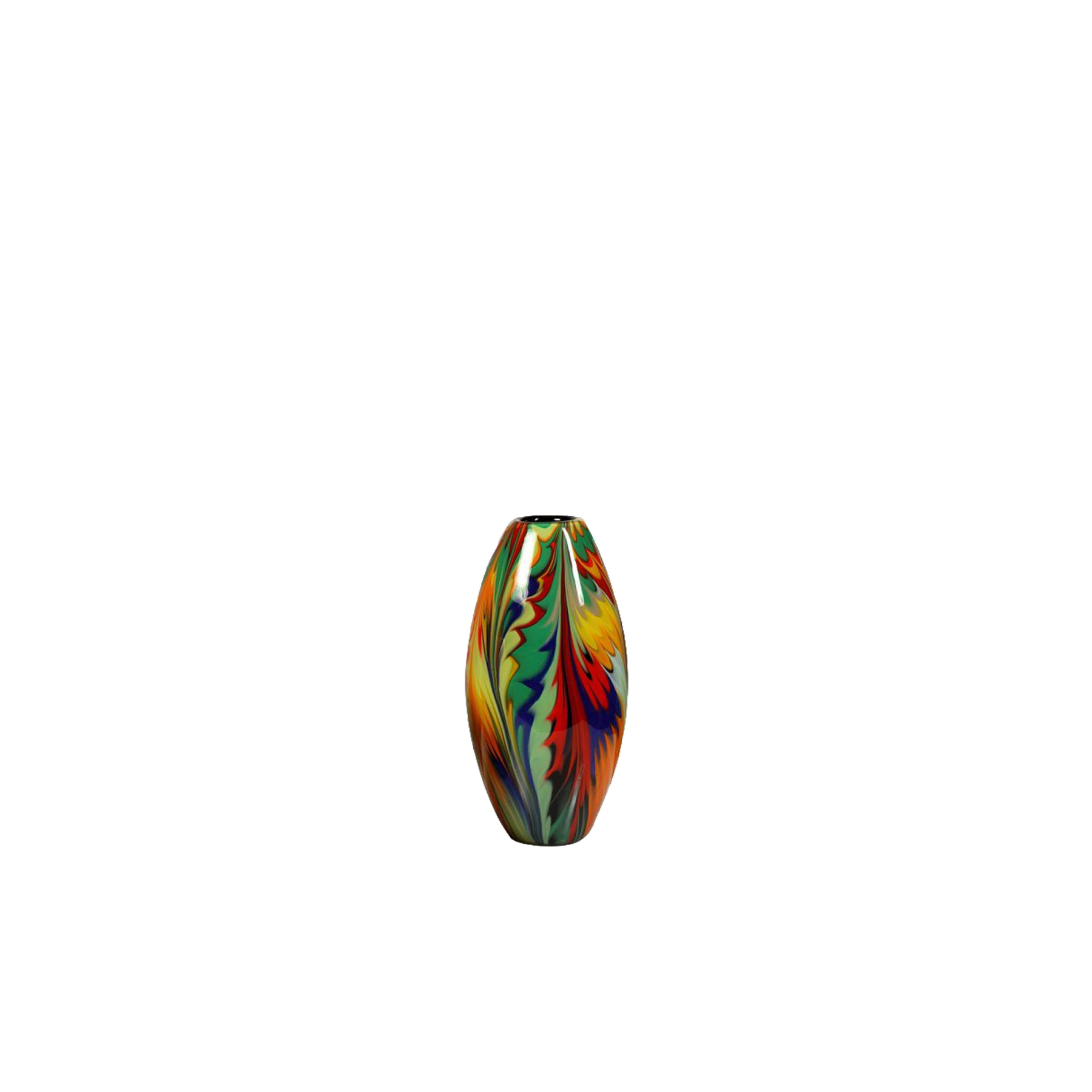 Giungla Olive Vase - Part of the Giungla 'Jungle' Collection, his colourful vase is a dynamic statement piece that will enliven any minimalist or post-modern interior decor. Made of Murano glass through the ancient Cane technique, where cane refers to rods of glass, which can be simple and contain single colour, or complex and contain strands of one or several colours creating a pattern. Used as a centrepiece on a console, side table, or dining table, this piece will add a note of joy and colour to any decor.
