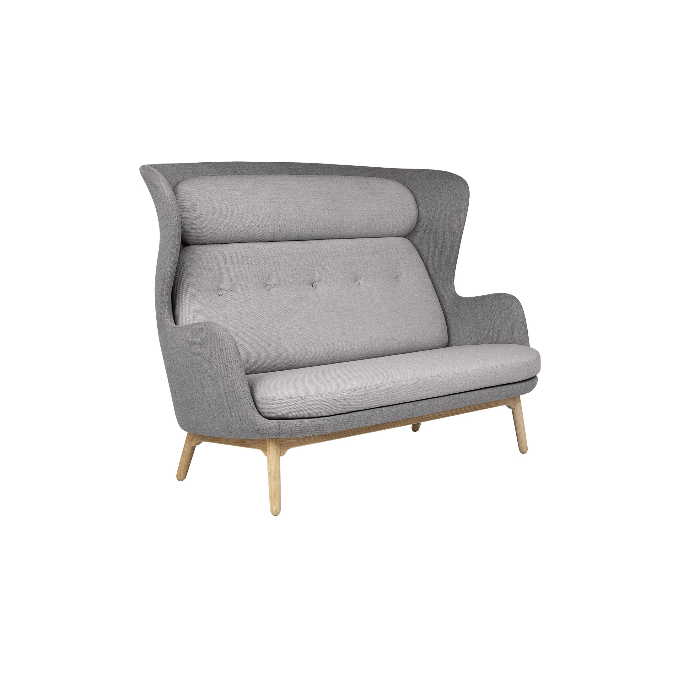 Ro Sofa - <p>Jaime Hayon's successful sofa Ro™ now fits two at a time. We introduce Ro as a 2-seater sofa - still accompanied by the curvy characteristics and playful, colourful expression found in Jaime Hayon's design philosophy. With the Ro™ Sofa, softness is expressed as a social setting for two - or for four when placed one in front of another - offering a unique feeling of privacy but with plenty of space at the same time. The Ro™ Sofa is perfect for any open office environment or other spaces that have the need for a breakout area or a room division. The Ro chair's distinct, sculptural shape has been interpreted in the Ro™ Sofa version and the two now make up a small unified collection. Despite its high back, the Ro™ Sofa is warm and welcoming and has a cosy appearance, whilst at the same time it offers the possibility of an enclosing, intimate space built for privacy. The Ro™ Sofa comes fully upholstered in in a wide range of fabrics. Single fabric or a mix of 2 fabrics; one fabric for the shell and one for the cushions. The base consists of 4 legs in brushed aluminium and it is also available with a wooden base in solid oak with a clear lacquer finish. A range of materials, colours and finishes are available in a number of combinations. Prices may vary. Please enquire for full details.</p>  | Matter of Stuff