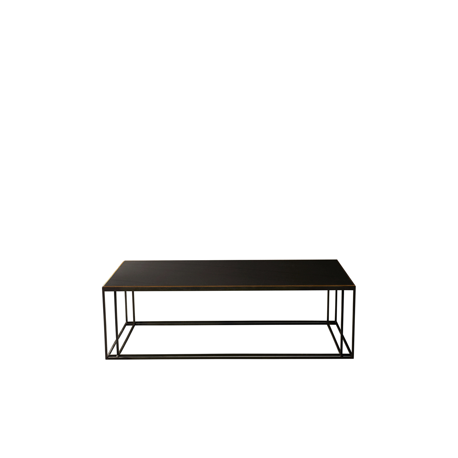 Slate Binate Coffee Table - This coffee table is the perfect height to be in the centre of a lounge or living room or in a casual commercial area. The choice of finishes means that you can choose the best one to suit your space. The frame is Blackened Steel and the Top is honed Cumbrian Slate, with a Polished Brass Trim. This table is hand made and crafted in the North of England to order. Custom sizes and finishes are available.  | Matter of Stuff