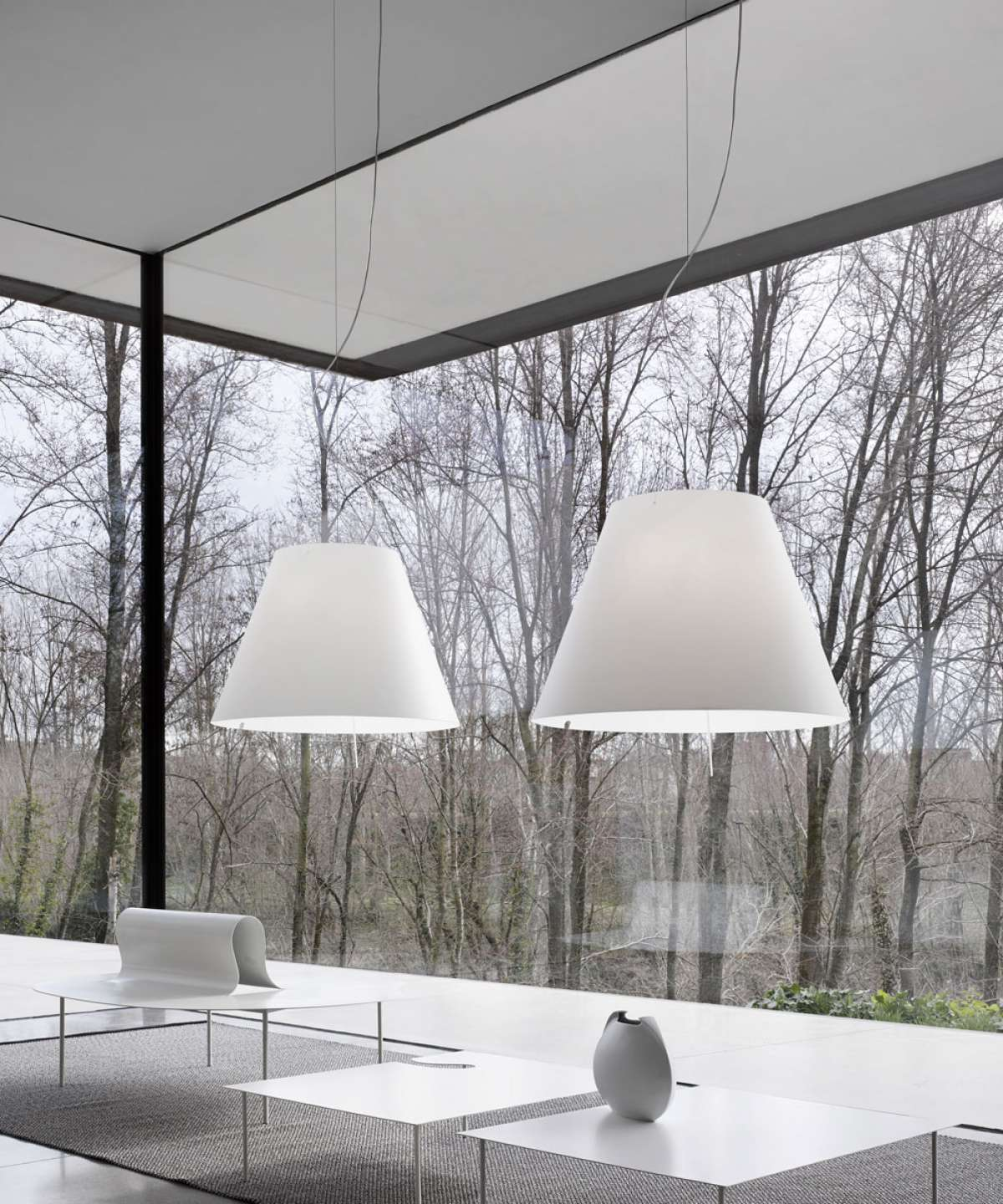 Grande Costanza Suspension Lamp - As visible as it is lightweight and balanced. The thin polycarbonate shade emits a pleasant glow that brings warmth and brightness to domestic and public spaces. | Matter of Stuff