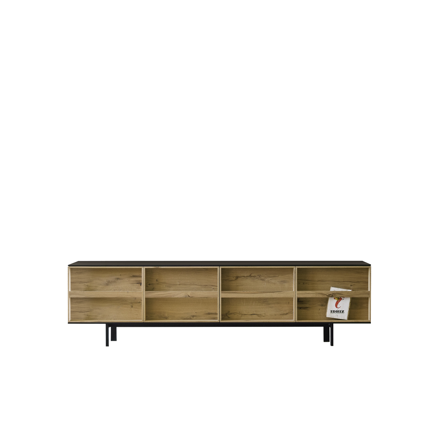 Ramblas Large Sideboard - Evocative, with thin wooden lines and a minimalist charm. The sideboard is characterized by doors designed as a library and equipped with an effective book-like opening system. It is available in three different sizes.