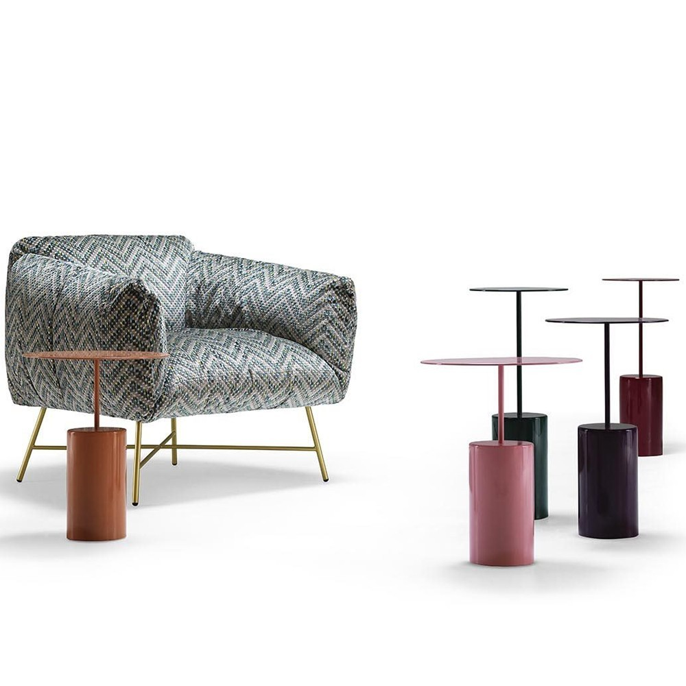 "Cocktail Side Table - <p>The Cocktail side table comes in three different sizes that can also ""exist"" on their own, ideal for use<br /> besides all the sofas of the MyHome collection</p> <p>The table's frame is made of lacquered metal sheet and features a steel disk, seemingly balanced on a metal tube that is supported, in turn, by a cylindrical base.</p> <p>A range of dimensions and colours are available in a number of combinations. Please enquire for full details.</p>  