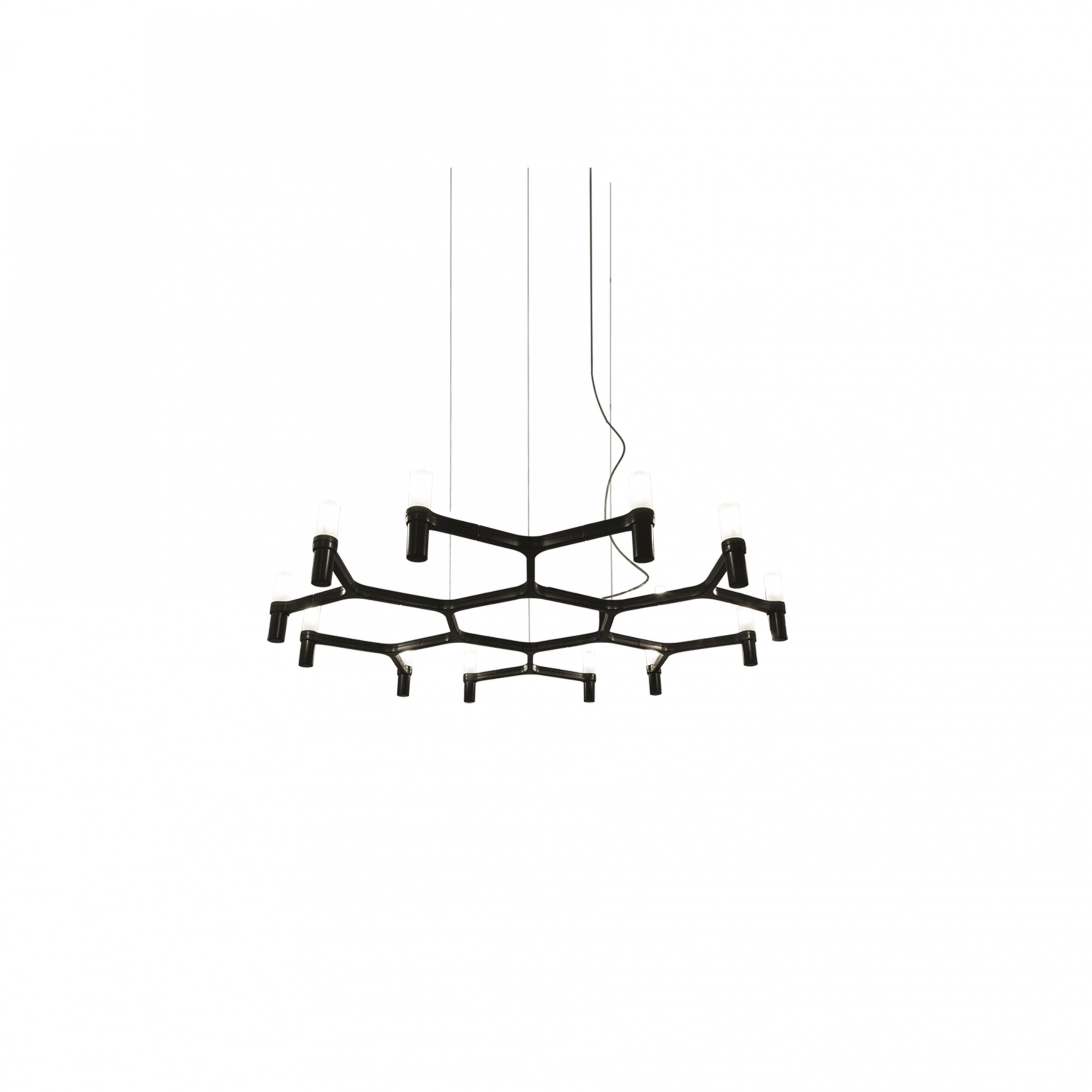 Crown Plana Minor Pendant Lamp - A family composed by pendant chandeliers whose shape is inspired by the outline of the snow crystal. Modular lamps realized with a die-casted aluminium structure and sandblasted glass diffusers. The structure is available in different versions hand-polished aluminium, glossy gold plated or black plated, painted in matt white, matt black, or matt gold. Widespread light. Double switch for the Summa and Magnum versions. The pendant versions are equipped with transparent cable, red cable on request. Available a NEMO LED G9 kit. Prices are with bulb not included.  | Matter of Stuff