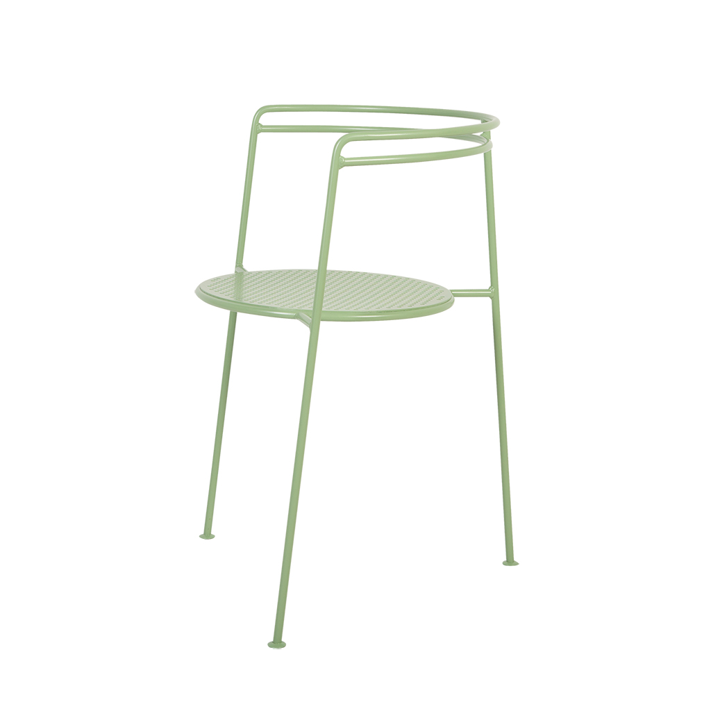 Point Chair - <p>Point chair is a three legged dining chair which elegantly combines minimalistic silhouettes with geometrical shapes. Point Table is a three legged dining table that is complemented by the Point chair. The seat and table top are made of perforated metal and creates a beautiful play of shadows when used outdoors in the sun. Both are available in 4 fresh and calm colours: Black, Sea green, Pigeon blue and Dusty peach. Stackable and durable for outdoor use.</p>  | Matter of Stuff