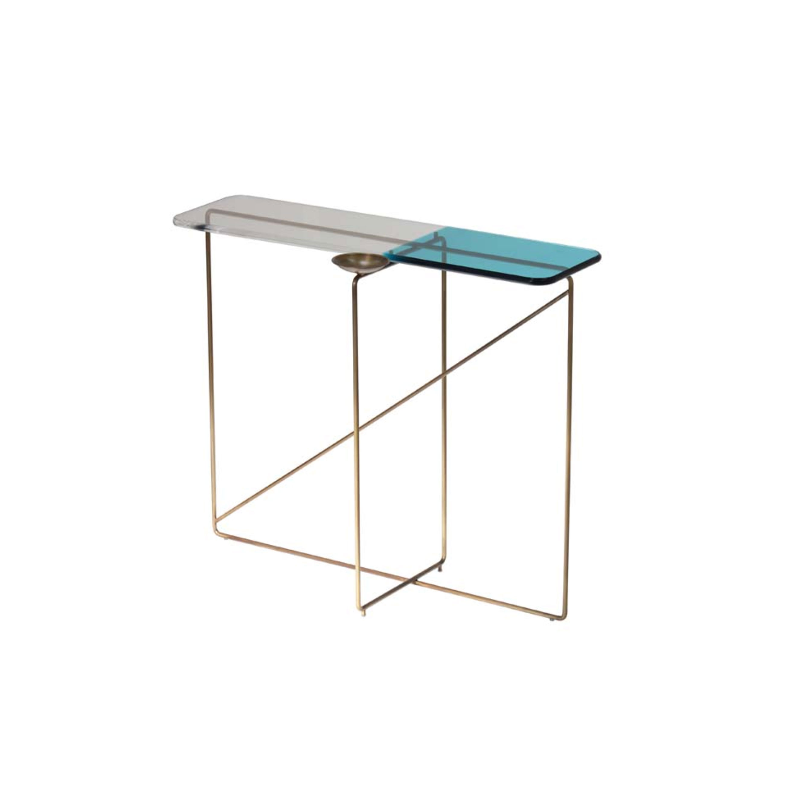 """Diaspro Console Table - Consolle with structures and empty pockets in brass. Top in bicolored methacrylate. Diaspro is part of Empirica Family. """"A creative process grown with the experience. There is a real connection between the human being and his creations, a chemical bond that is expressed through the unusual combination of elements that leads to an original and unexpected result. The Collection """"Empirica"""" is the result of a quick thought, an automatic gesture, a spontaneous sign, brass structures treated with special coating are mixed with methacrylate surfaces characterized by exclusive shades.""""  