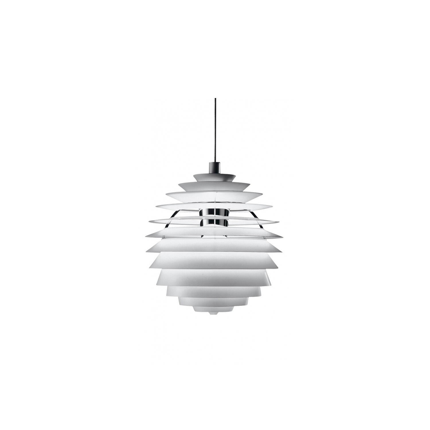 PH Louvre Pendant Lamp - The fixture provides 100% glare-free light. The geometrical, spherical design is based on the principle of illuminating all surfaces at the same angle. This ensures uniform light around the fixture, illuminating both walls and ceiling. Matt painted undersurfaces and glossy top surfaces result in an attractive reflection of the diffused light, creating uniform light distribution around the fixture.   | Matter of Stuff