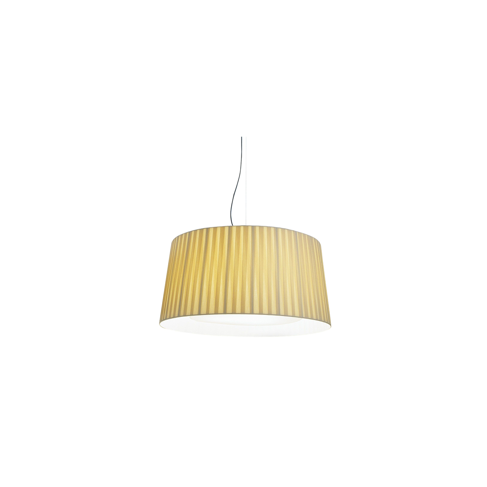 GT7 Pendant Lamp - GT7 is similar to the GT5 although it is larger in size. It incorporates an upper metal disc near the light source to strengthen the structure and a diffuser disc on the lower section. This is a colourful family that varies in size without altering its essence, creating rich luminous tones. With the light on, the shade provides a warm light, rich in nuances. With the light off, this lamp is a sculptural statement piece that enhances the room.    Matter of Stuff