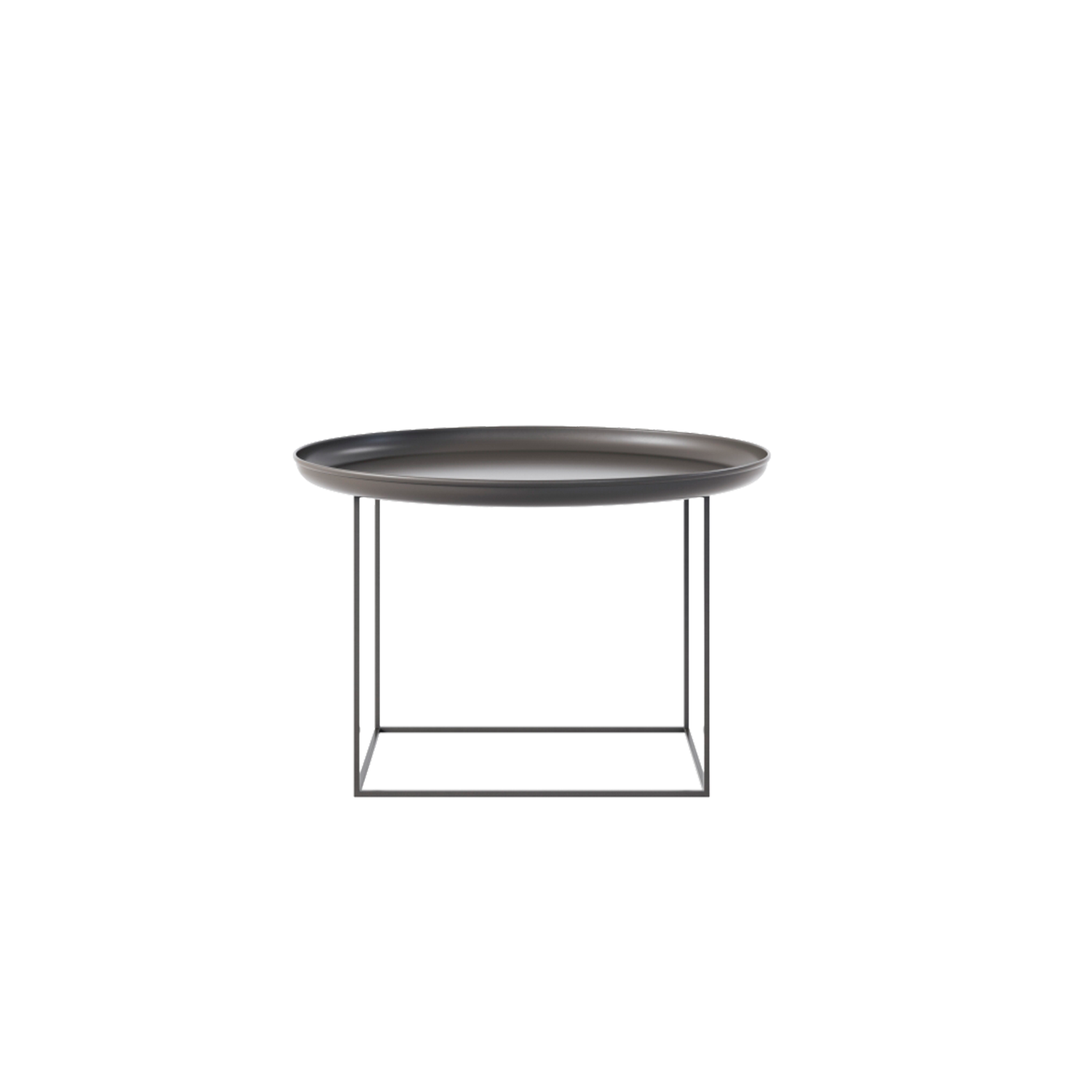 Duke Coffee Table Medium - The Duke tables are a series of multi-functional side and coffee tables with a spun metal tray loosely placed on top of a metal frame. The tables come in small, medium and large and can easily be adapted to fit your needs, with the medium size particularly functional. The base can be rotated onto its different faces to create three different table heights, making them suitable to fit any height of sofa or to be used as a bedside table. When all three sizes are placed together they create a nice landscape that compliments any sofa.  | Matter of Stuff