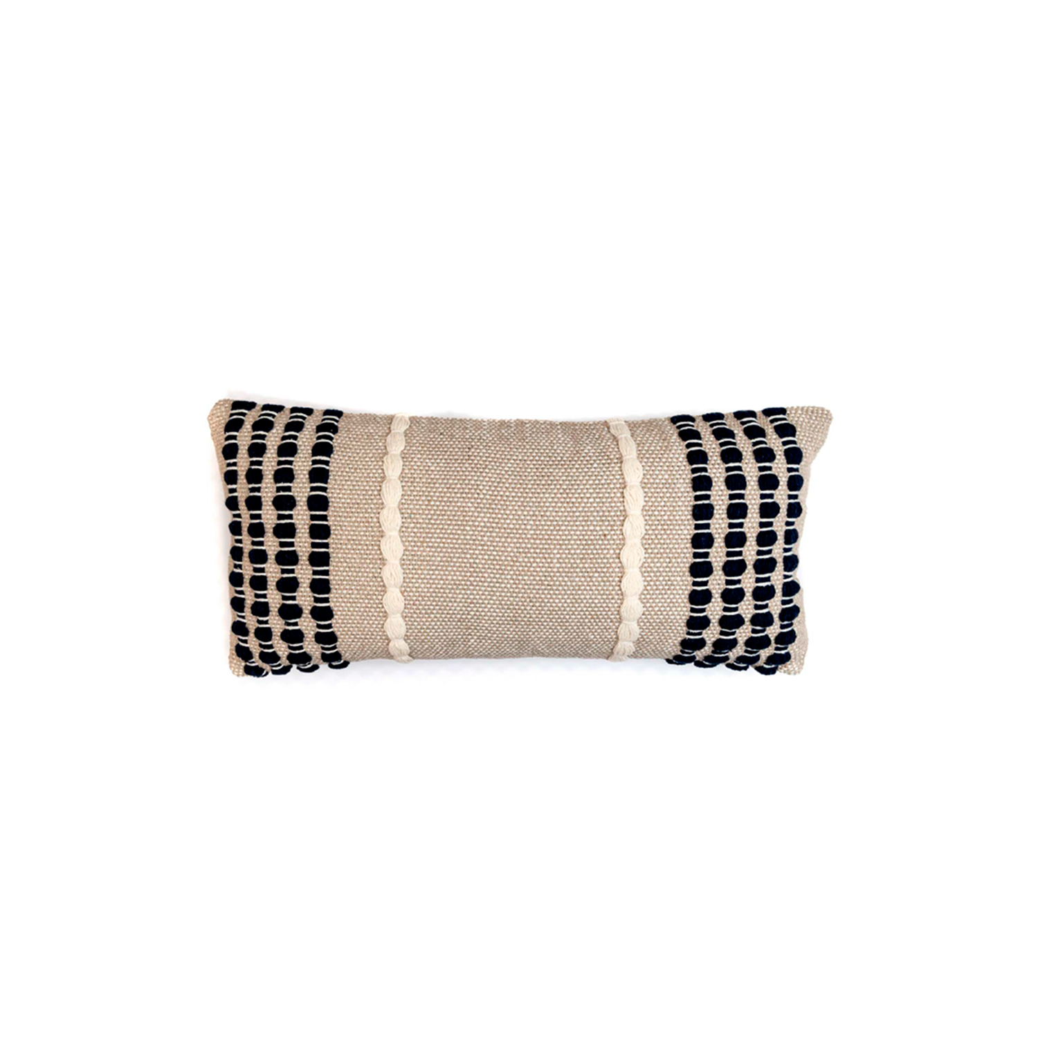 Lua Noite Cotton Cushion Small - The Flame Sustainable Collection is made from a selection of organic cotton fibres, eco-friendly, hand-woven or elaborated using traditional hand-loom techniques. Carefully knitted within a trained community of women that found in their craft a way to provide their families.  This collection combines Elisa Atheniense mission for responsible sourcing and manufacturing. Each piece is meticulously hand-loom by artisans who practised methods with age-old techniques. With a minimal electricity impact, each item crafted is therefore unique and exclusive. Weavers and artisans are the ultimate lifelines of Elisa Atheniense Home Products.  The hand woven cotton, washable cushion cover is made in Brazil and the inner cushion is made in the UK.   | Matter of Stuff