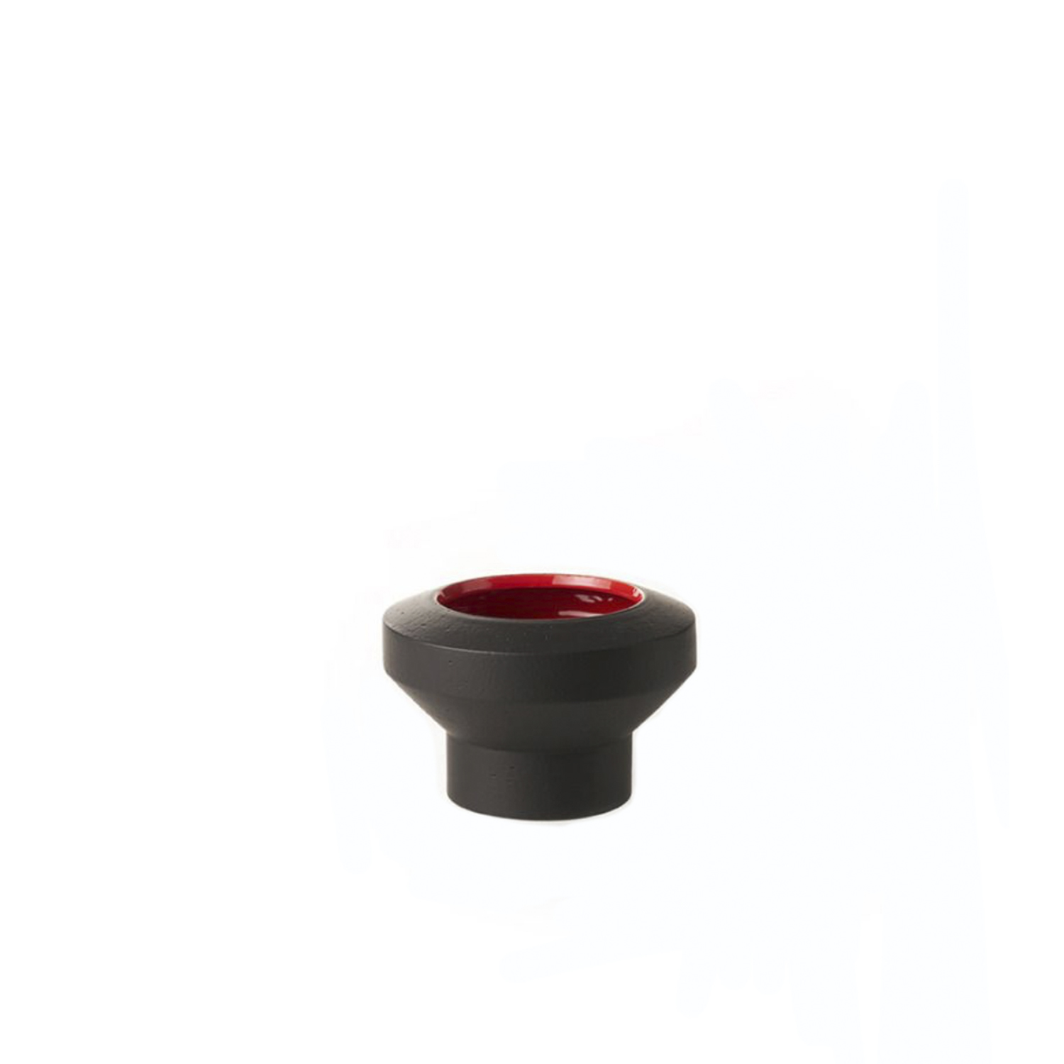 Two-Toned Small Centrepiece - Centre-piece hand-turned in white refractory clay. Two-tone matt black and glossy red glaze.