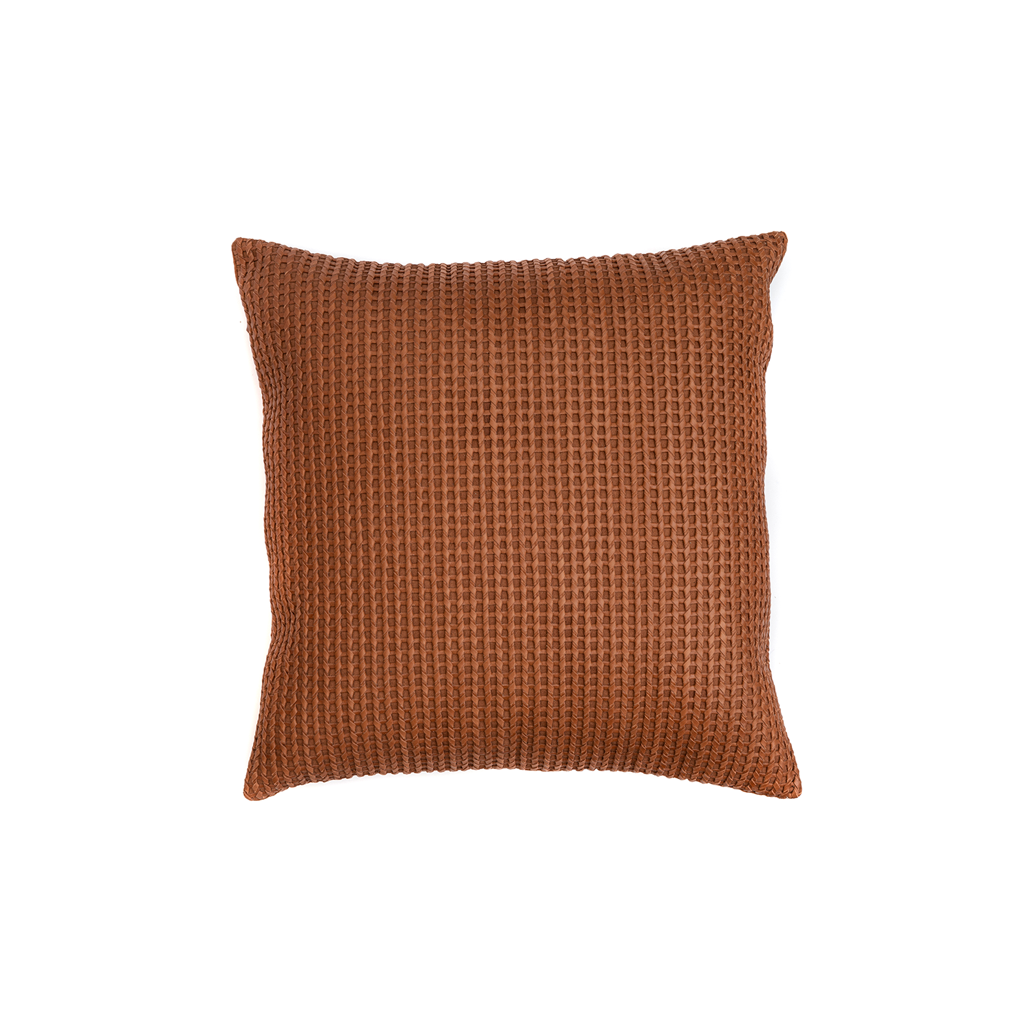 Lanca Woven Leather Cushion Square - The Lanca Woven Leather Cushion is designed to complement an ambient with a natural and sophisticated feeling. This cushion style is available in pleated leather or pleated suede leather. Elisa Atheniense woven handmade leather cushions are specially manufactured in Brazil using an exclusive treated leather that brings the soft feel touch to every single piece.   The front panel is handwoven in leather and the back panel is 100% Pes, made in Brazil.  The inner cushion is available in Hollow Fibre and European Duck Feathers, made in the UK.  Please enquire for more information and see colour chart for reference.   | Matter of Stuff