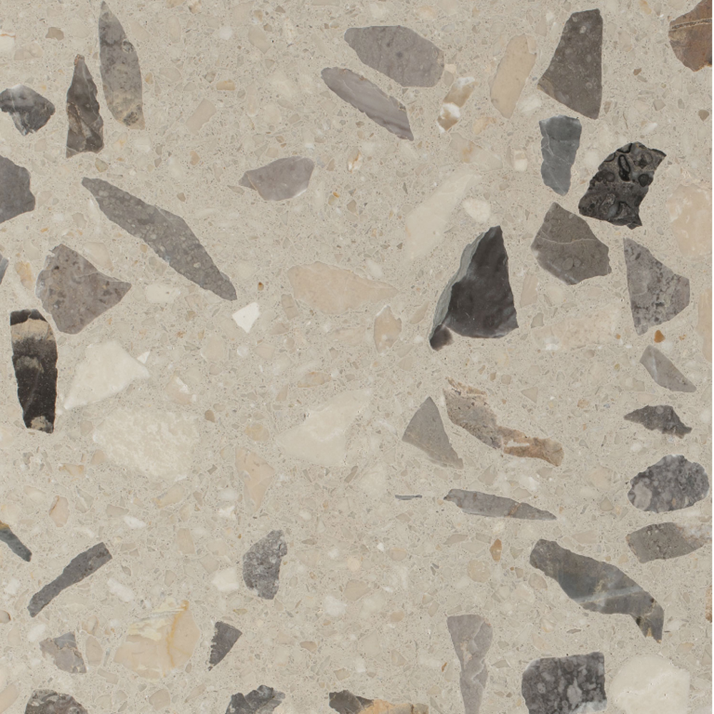 Stone - Terrazzo graniglia tiles made through sustainable processes and recyclable. This graniglia is indeed composed of natural recycled raw materials, 80% of which originates from the processing of precious Italian marble.