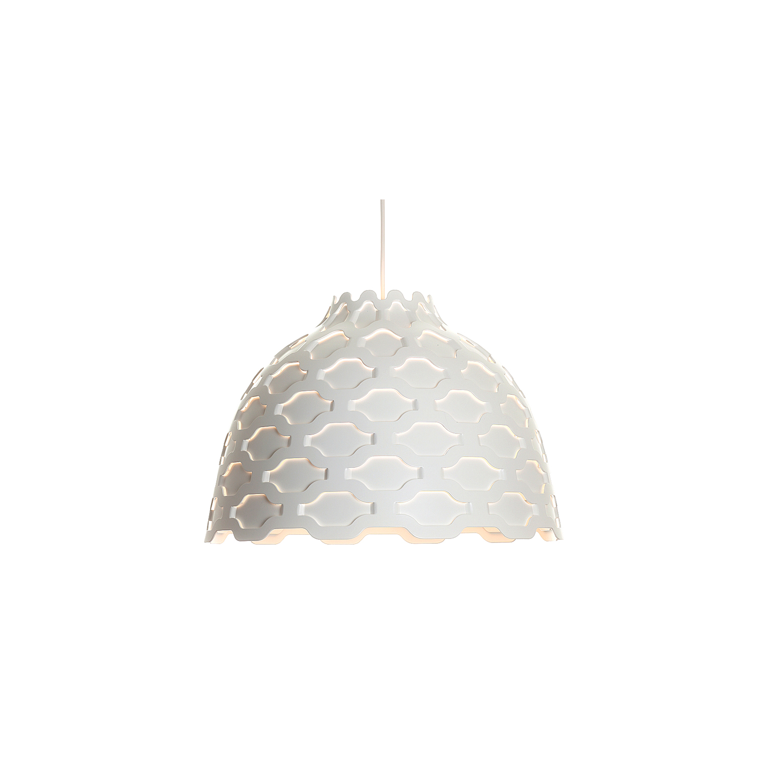 LC Shutters Pendant Lamp - The fixture emits a primarily downward illumination. The perforated pattern on the shade provides a soft illumination around the fixture. Meanwhile, the perforation helps to lighten up the surface of the shade in a decorative way, when it is turned on, thereby maintaining the contour of the fixture, whether it is on or off. The light source is surrounded by an opal diffuser, which ensures that the fixture is 100% glare-free and that the fixture is suitable for several types of light sources providing the same light distribution and comfort. And finally, the shape of the diffuser allows a beautiful view into the fixture.   | Matter of Stuff