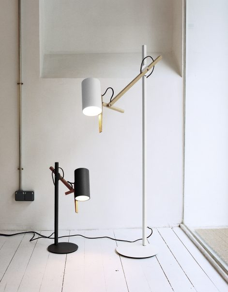 Scantling Table Lamp - A combination of basic geometric shapes and the use of wood together with metal give this range of lamps a homely appearance, at the same time as a clearly defined personality. All of the movements of the fully rotating shade use arms and hinges, and its technical precision means that springs or counterweights are not necessary in order to maintain the selected position. Scantling is a term used to define the size to which a piece of wood or stone is measured and cut, derived from the name of an old unit of measurement. The interplay of the different elements used in its design gives this lamp an archetypal, almost graphic appearance. | Matter of Stuff