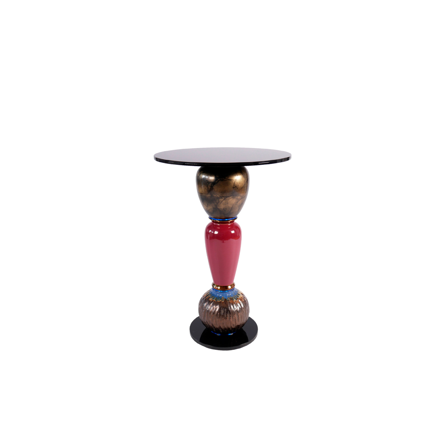 """Shut Your Eyes Side Table - Timeless """"one of a kind"""" side table made of vintage vases and new plexiglass and glass components. Stable construction made of metal and flexible components inside. Additional wight in the base.  