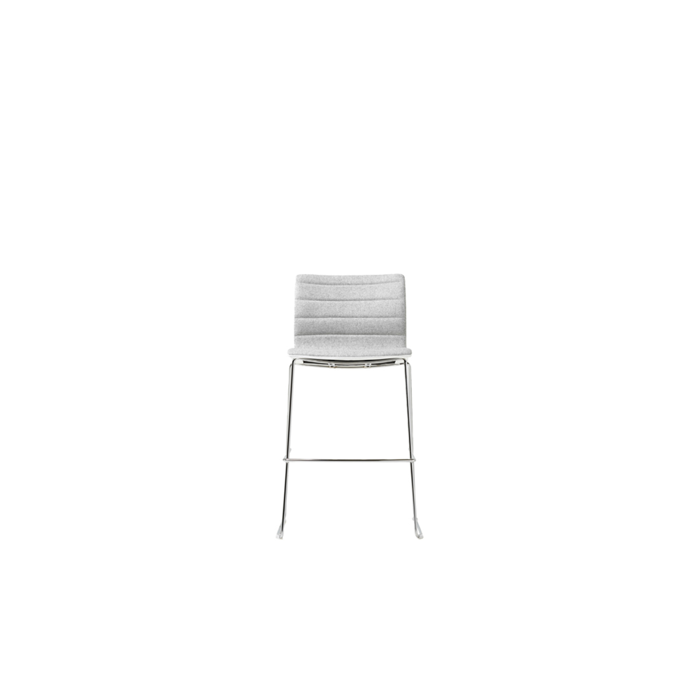 Miss Stool - MISS is characterised by its dynamic and refined lines. Modern and minimalist, it has a generous seat and a slinky backrest that supports the user's posture and ensures comfort. A series of armchairs with exceptional versatility, ideal for home, contract and office.  Miss Stool version comes in beech plywood single shell, padded and upholstered with a choice of horizontal or no stitching. Available on chromed sled. For upholstery options please refer to Cat. F, Cat. G, Cat. S, Cat. Top, Cat. Extra, Fiesta, Nuvola in the catalogue.    | Matter of Stuff
