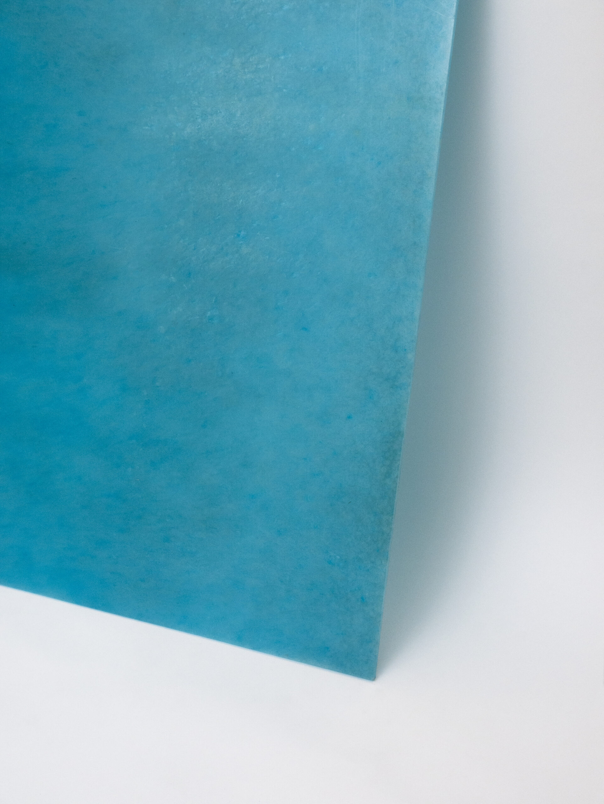 Maldives Recycled Plastic Sheets - Environmentally friendly recycled plastic sheets. High quality panels with the lowest ecological footprint possible. Each panel is made from a single type of plastic so it can be easily recycled, extending its use indefinitely.  The sheets can be used to create modern-looking environmentally-conscious furniture and interior or exterior design elements.  Lagoon-blue and as translucent as ocean water… this pattern awakens the ultimate holiday vibe and adds a refreshing look to the surrounding interior. A definite tropical mood maker!  Origin: spools.  Waterproof and rot-proof. Chemical resistant. The material can be machined, drilled, cut (by CNC, woodworking sawblades, router and waterjet), sanded, heat formed, glued, and fixed with screws as well as adhesives.  Bespoke colours and patterns are available. Please see images for reference and enquire for more information. | Matter of Stuff